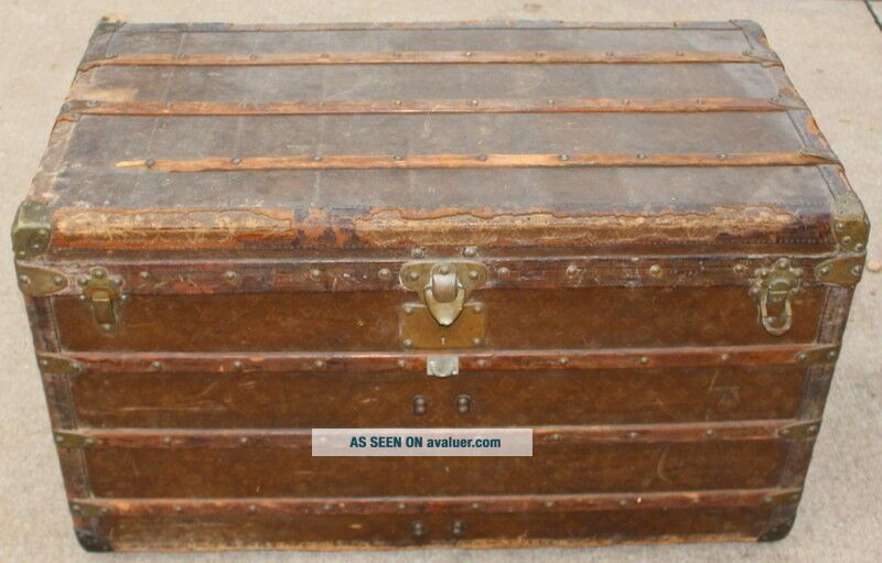 Old Louis Vuitton Steamer Trunk Monogrammed Canvas - Red Tag - Brass Handles