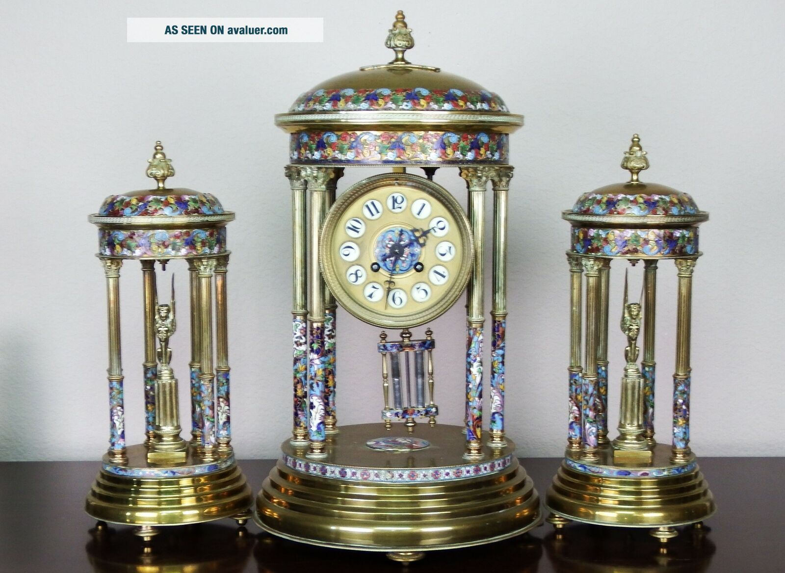 Antique 19th c French Gilt Bronze,  Cloisonne,  Champleve Japy Clock Garniture