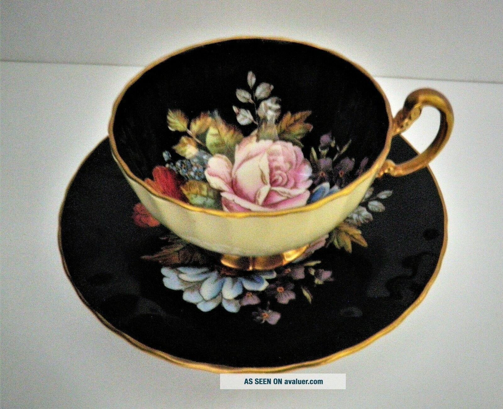 Rare Aynsley Black Oban Footed Cup & Saucer w Cabbage Rose Floral -