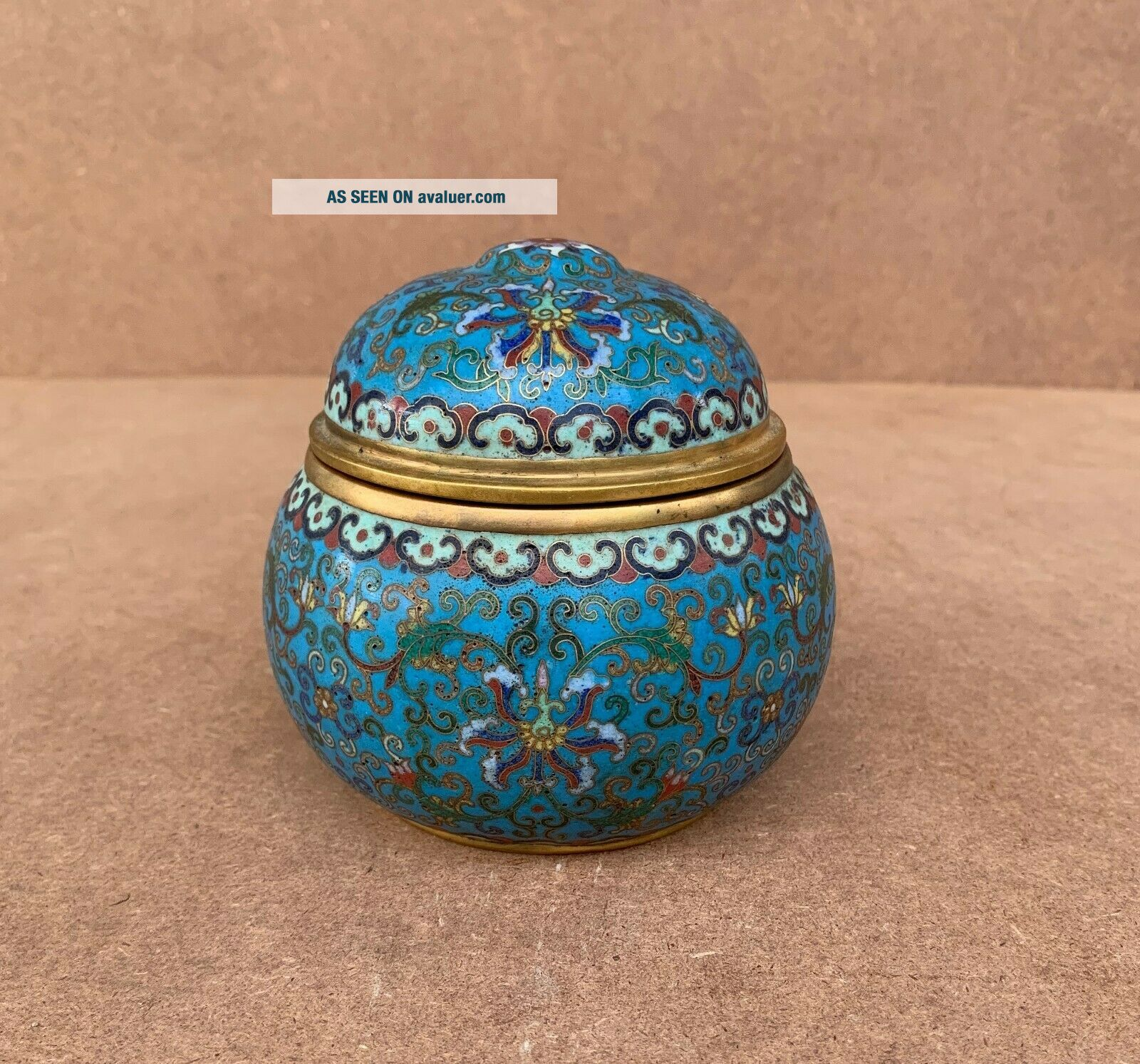 Antique Cloisonne Enamel Circular Box and Cover Qing Qianlong Mark
