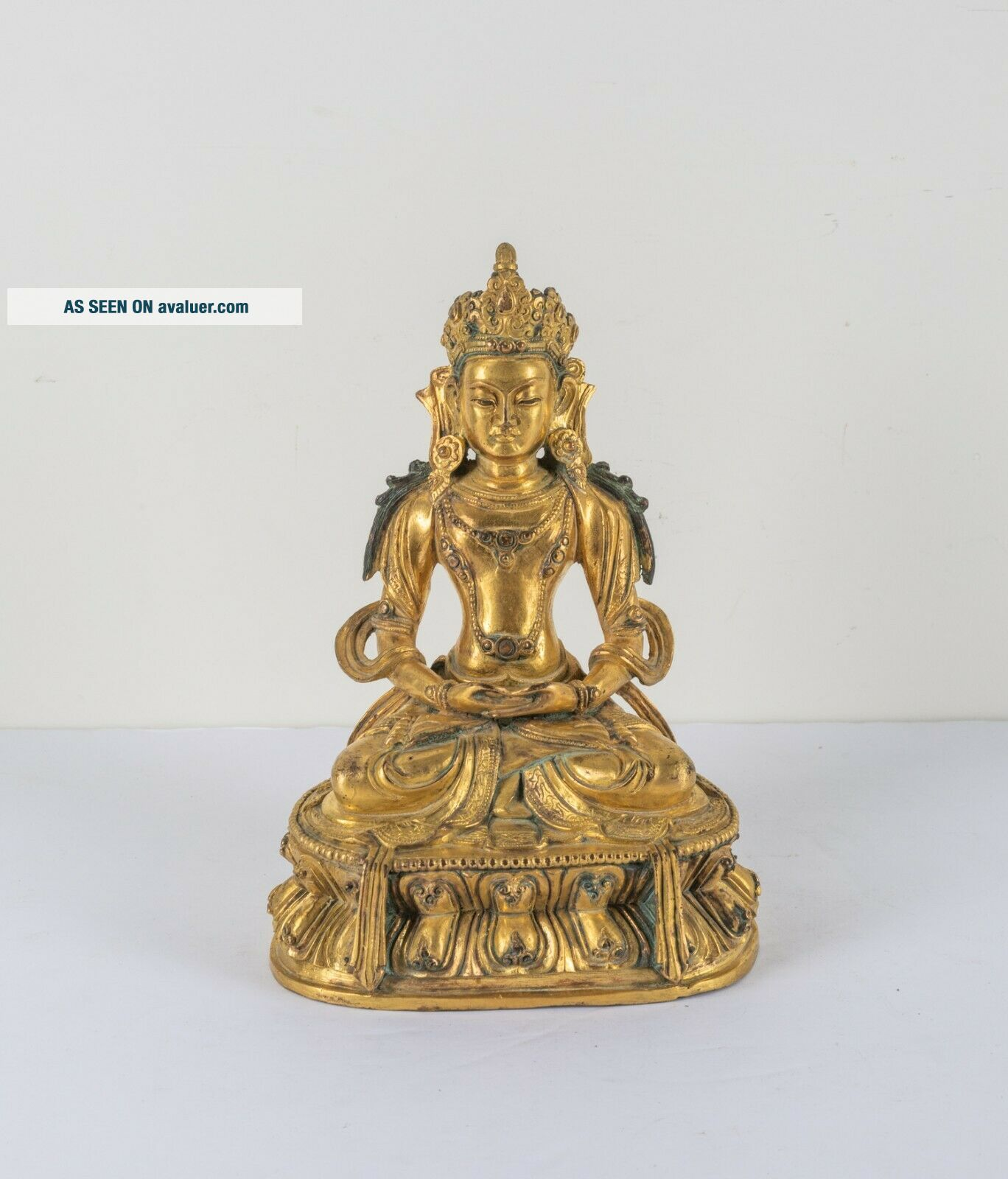 Chinese Antique Ching Dynasty Gilt Bronze Figure Of Buddha,  Kuangxu Period