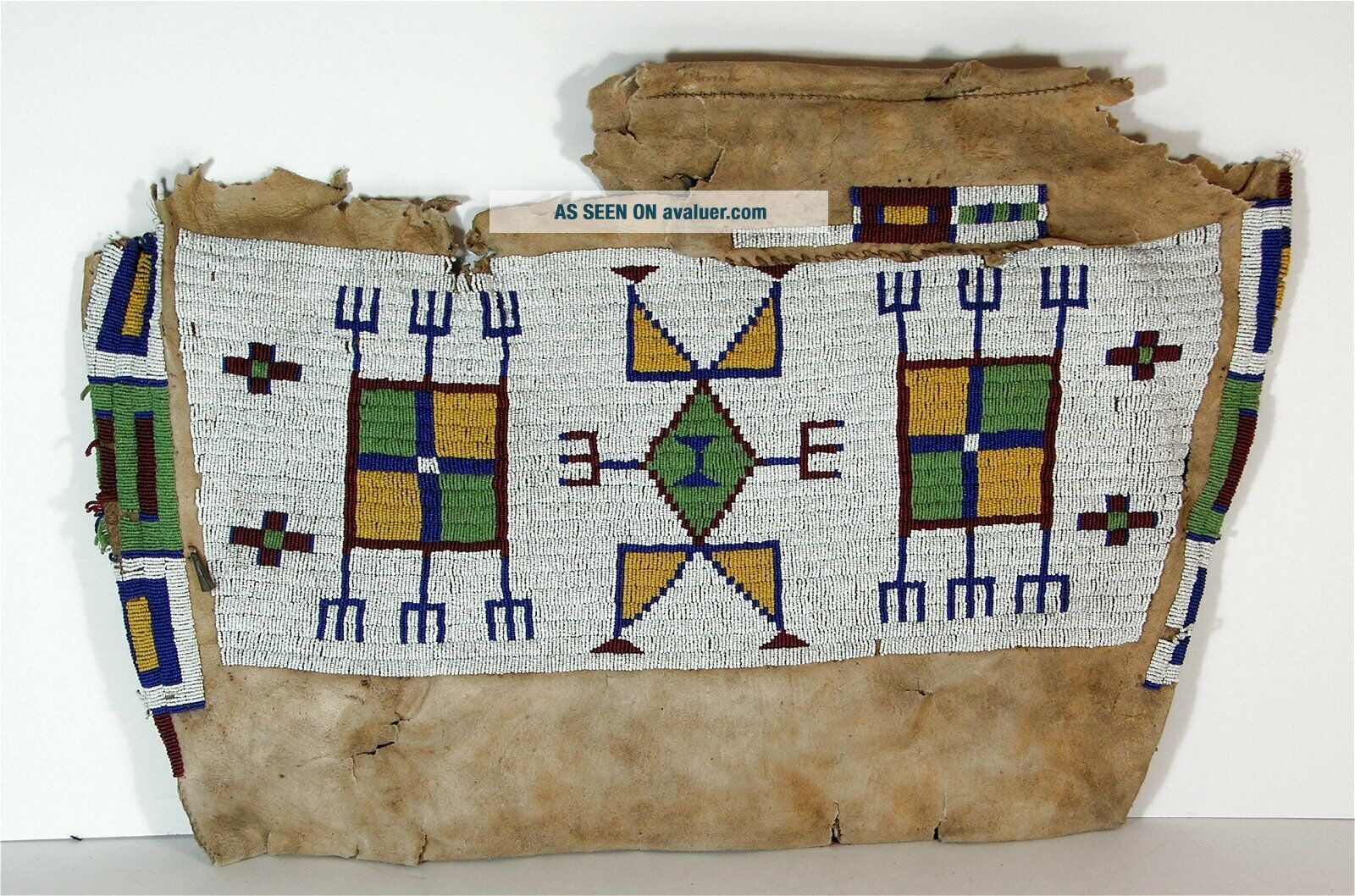 ca1880s NATIVE AMERICAN SIOUX INDIAN BEAD DECORATED HIDE TIPEE BAG TEEPEE BEADED