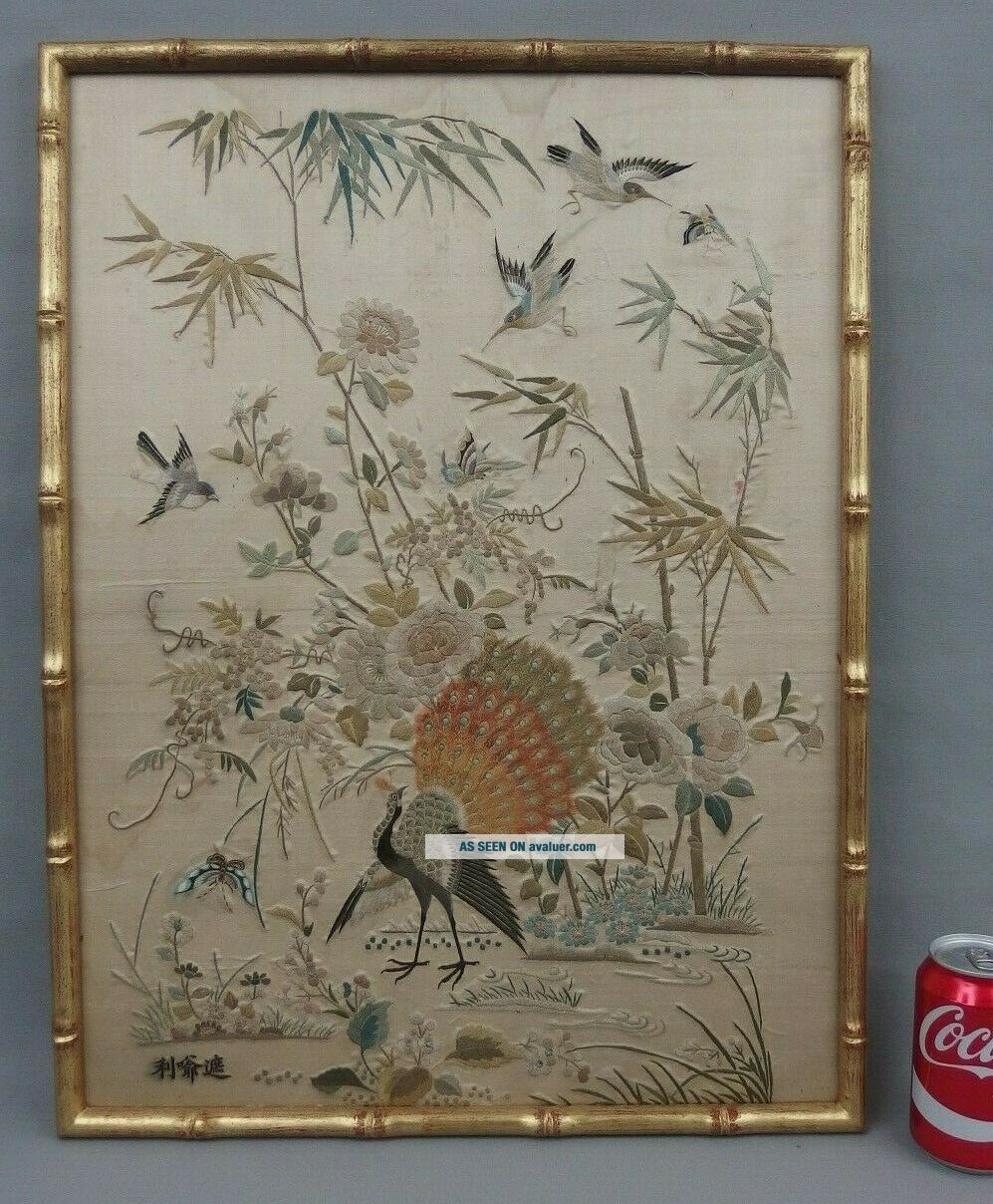 Antique Chinese Silk Embroidery Tapestry Textile Panel W Peacock & Birds C1900