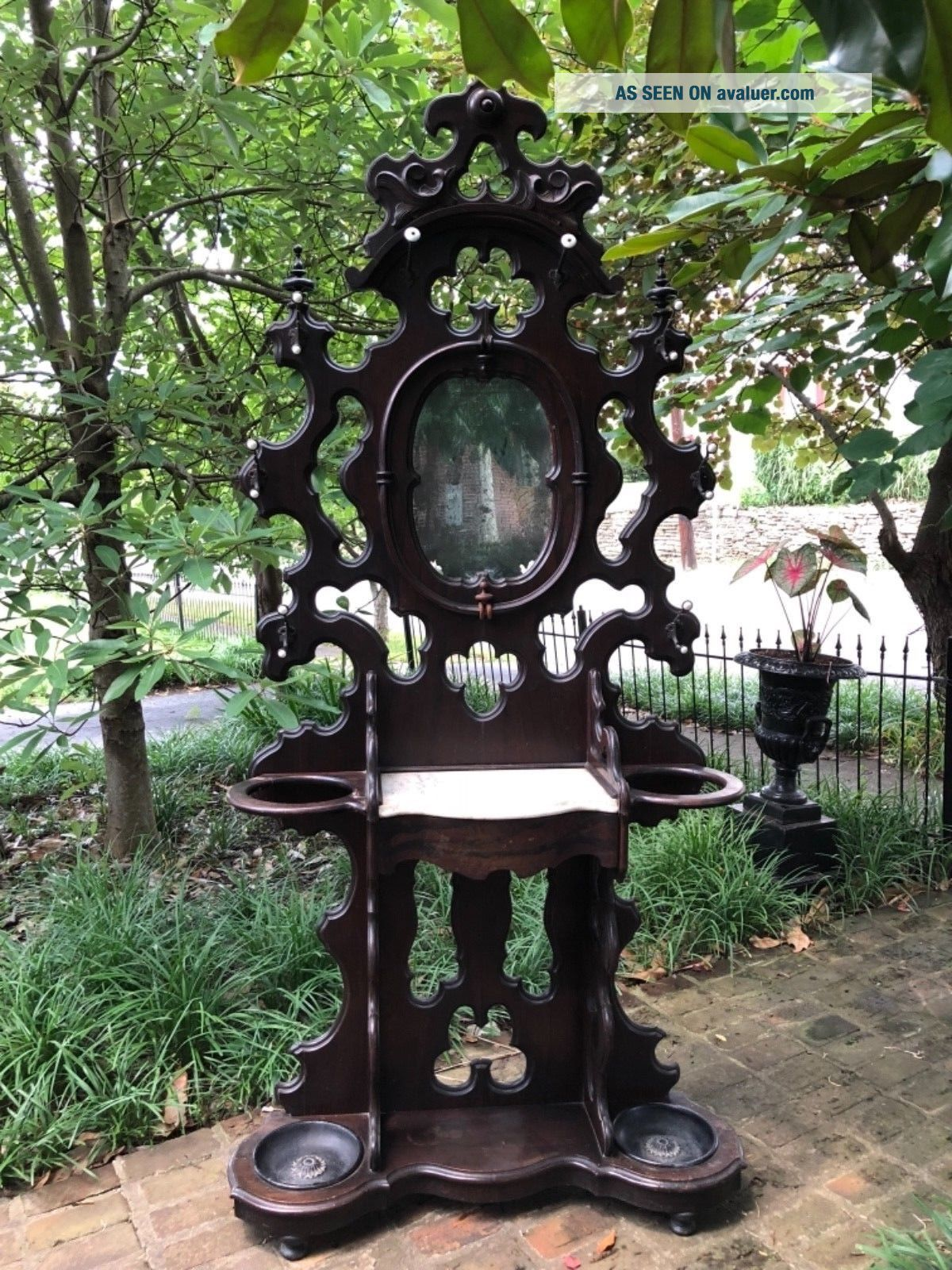 Phenomenal Victorian Walnut Hall Tree with Marble Top and Dovetailed Drawer