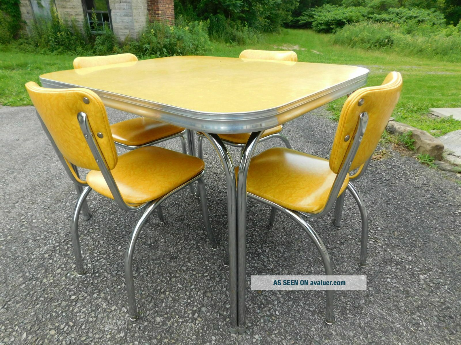 c1955 Completely Restored Retro Chrome Yellow Crackle Kitchen Table & 4 Chairs