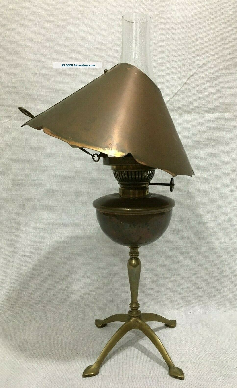 Arts Crafts Antique Hinks Son Copper Oil Lamp Scalloped Slanted Hood WAS Benson
