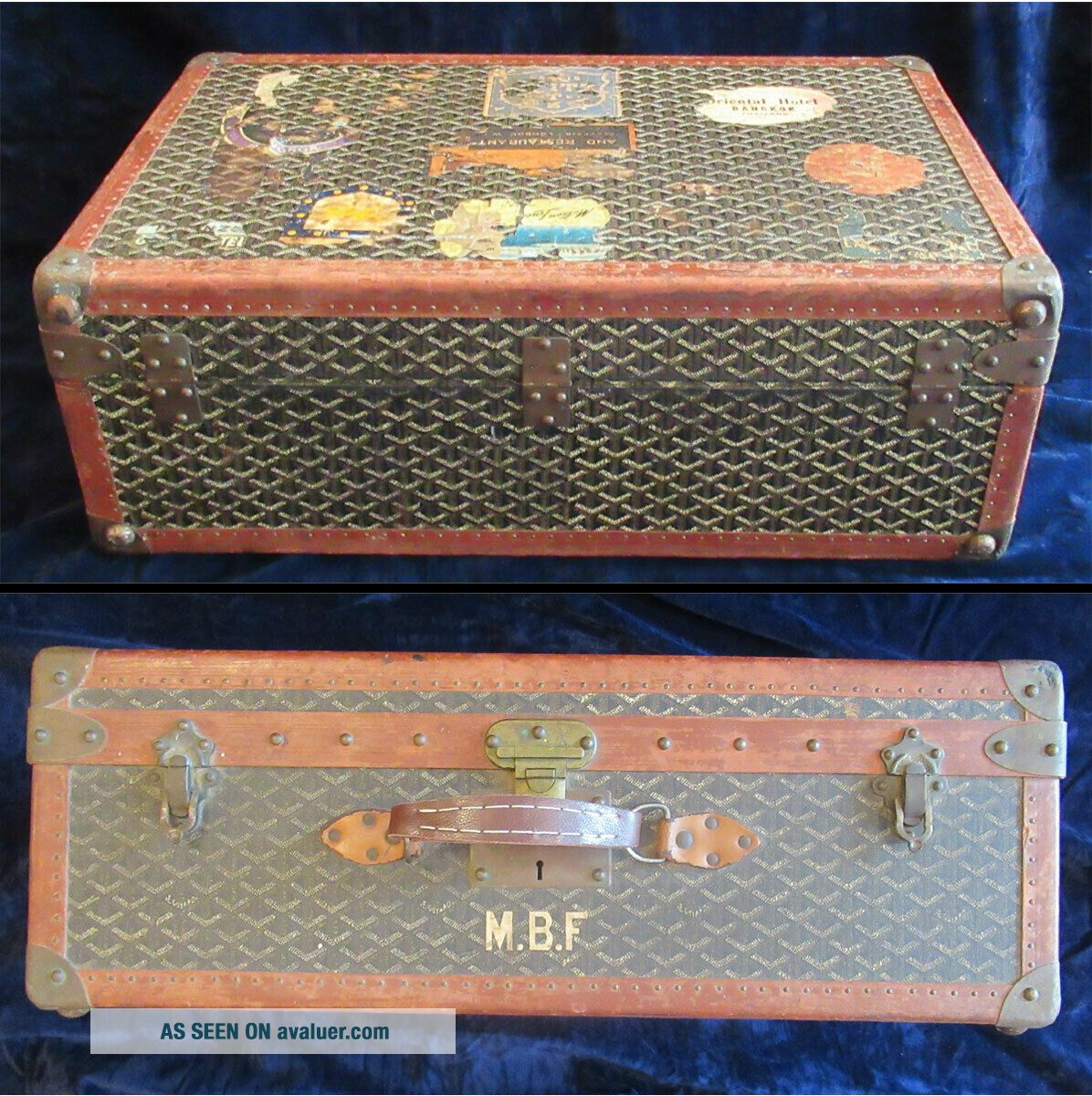 Goyard Suitcase Sized Trunk with Assorted Travel Labels