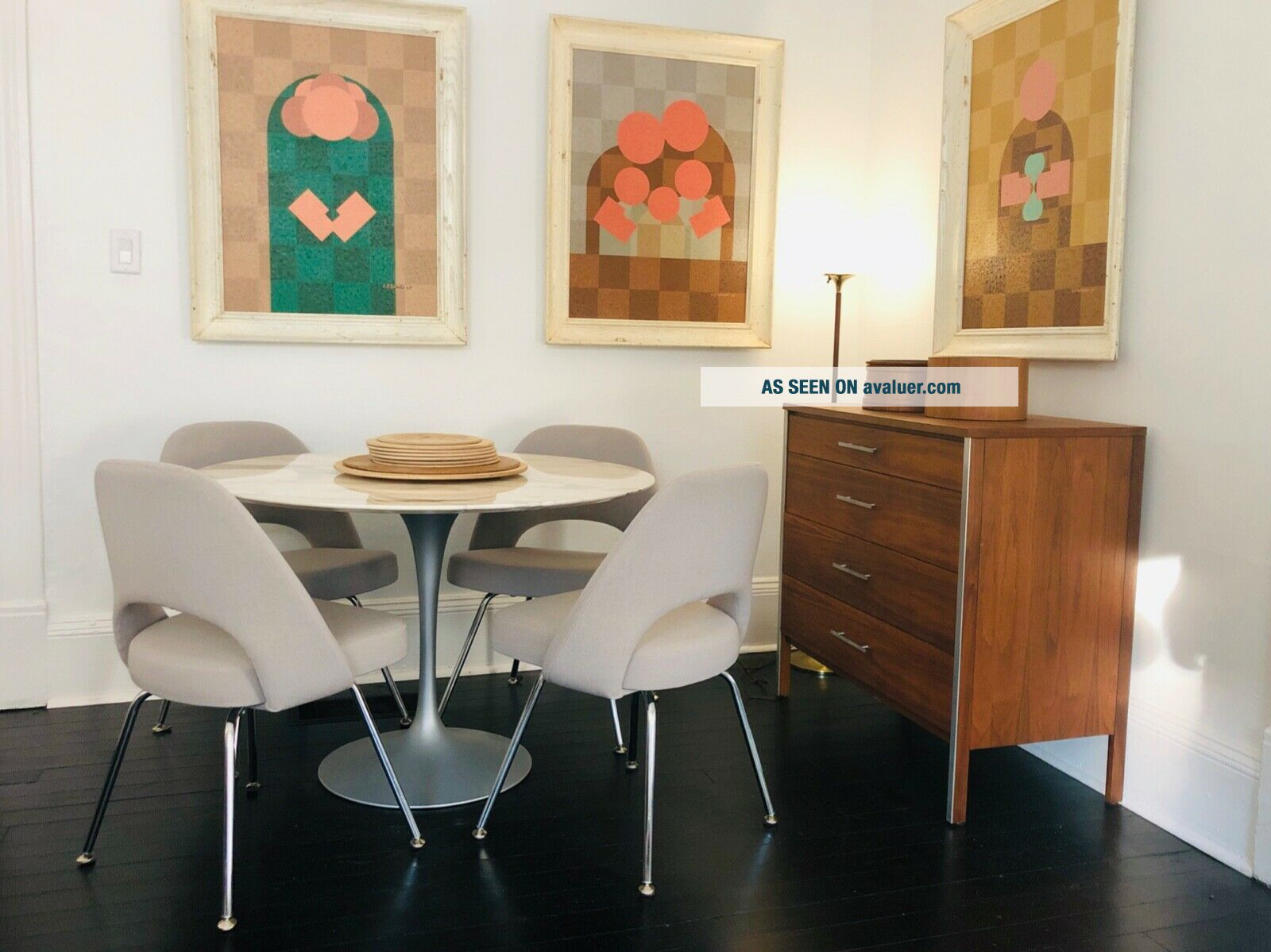 4 Knoll Saarinen Executive Side Chairs Grey Fabric Perfect Cond.  Chrome