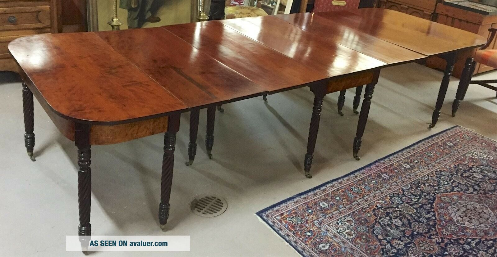 Antique 3 - Part Federal/Sheraton Mahogany Dining/Banquet Table c1820s—Magnificent