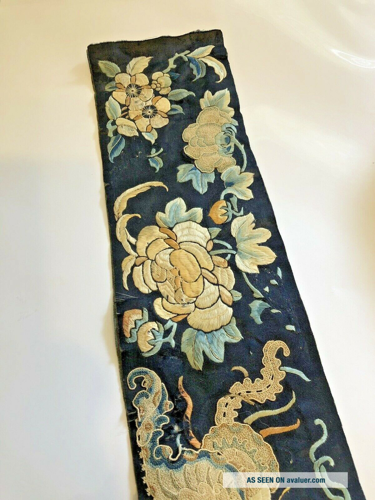 Antique Chinese Silk Embroidered Fabric Panel Wall Hanging Tassel 1850