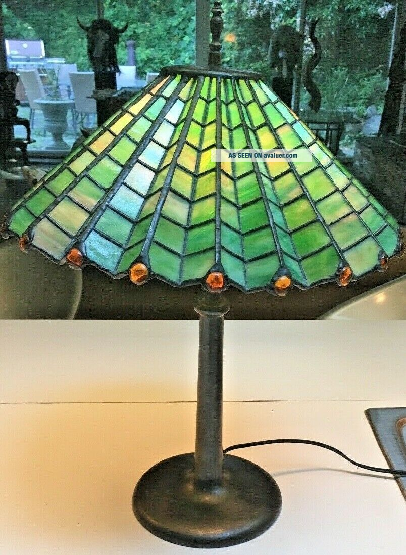 Antique 1910 Arts & Crafts green &yellow stained glass spider web lamp iron base