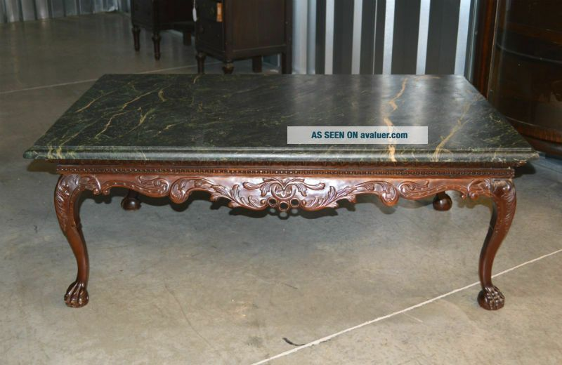 Indonesian Green Marble Top Coffee Table with Ball and Claw Feet