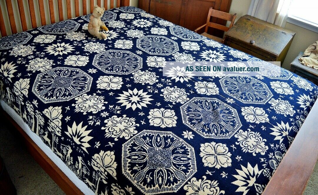 Antique 19th c Jacquard Coverlet Dated 1845 with Rare Deer & Hunters Border
