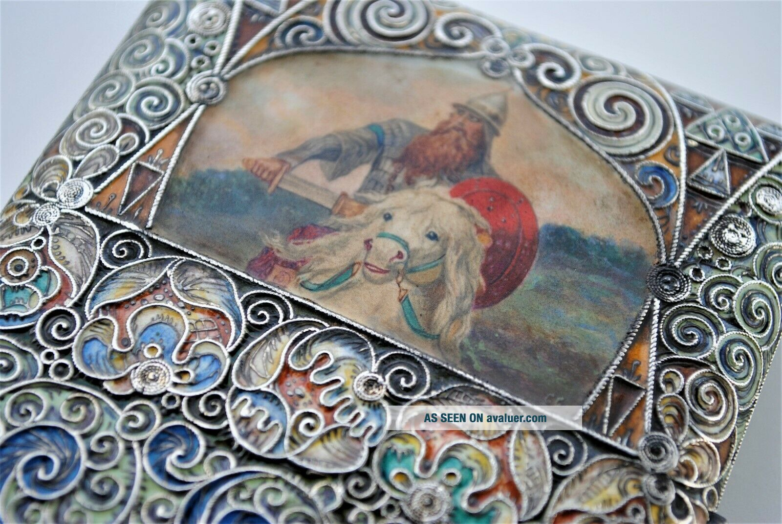 RARE RUSSIAN ENAMEL HAND PAINTED SIGNED C.  C CIGARETTE CASE 84 SILVER RUBY SET