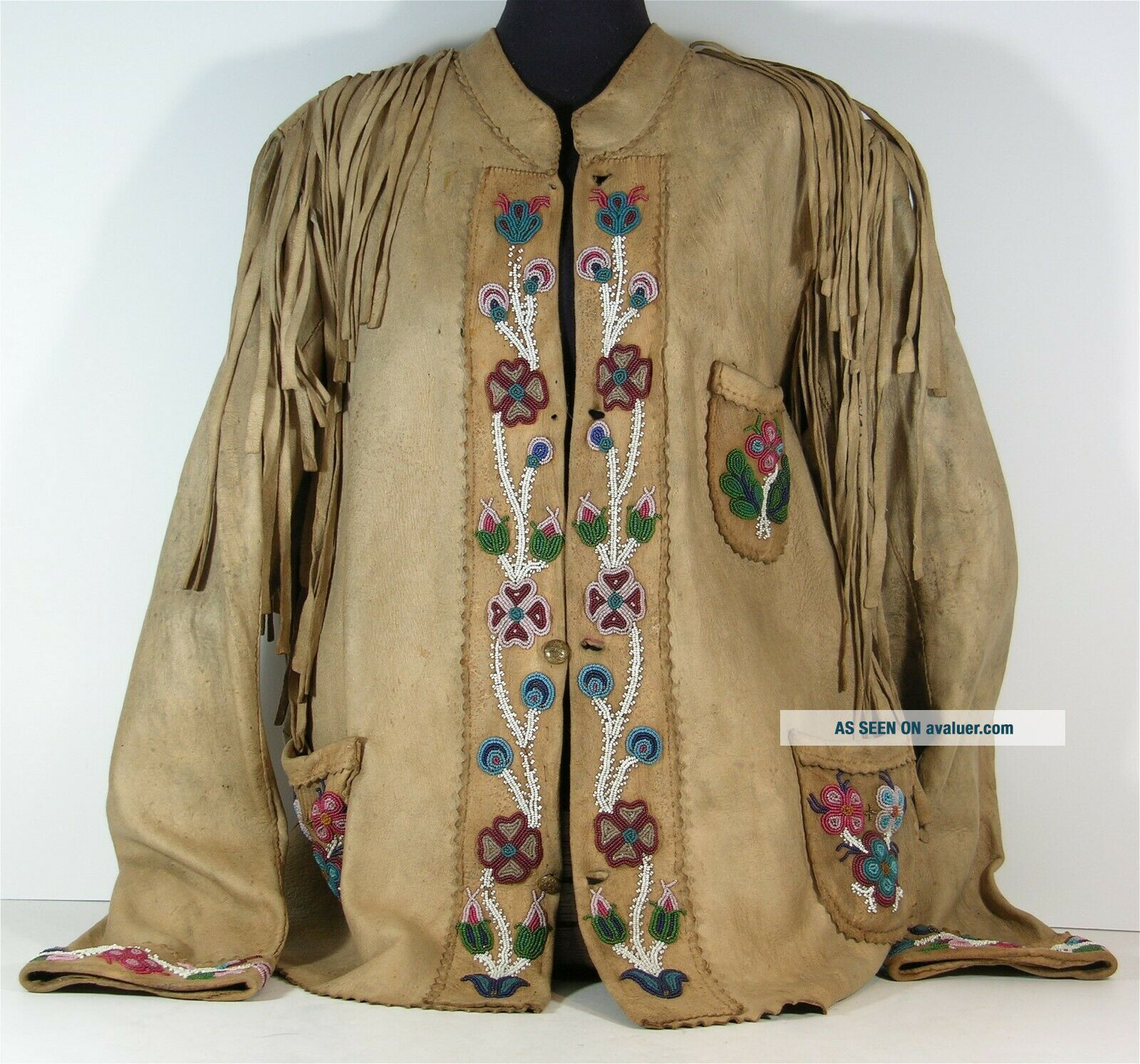 1890s NATIVE AMERICAN PLAINS CREE INDIAN BEAD DECORATED HIDE JACKET BEADED COAT