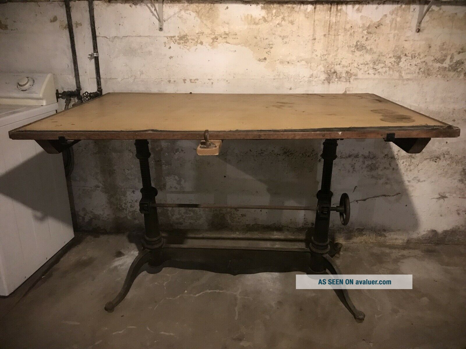Early 20th Century Eugene Dietzgen Double Pedestal Castiron Drafting Table