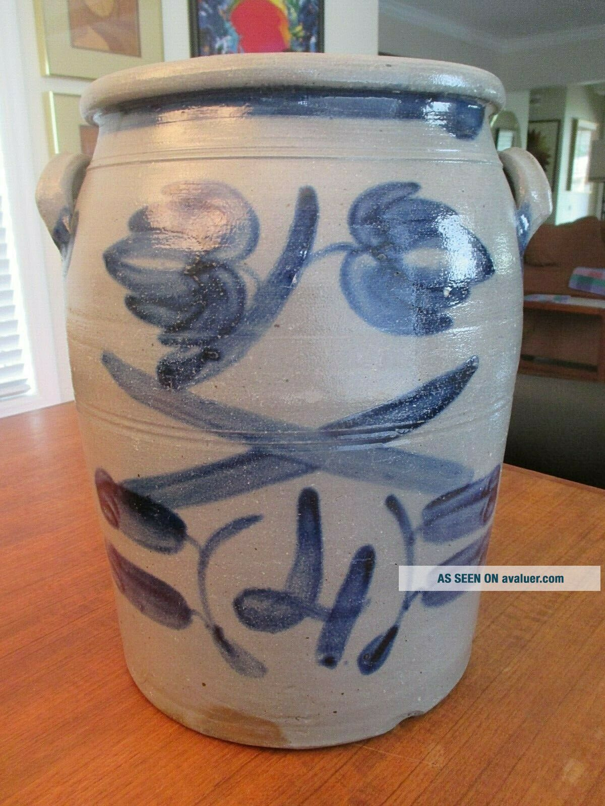 Vintage STONEWARE 4 GALLON CROCK Blue Floral Primitive NM