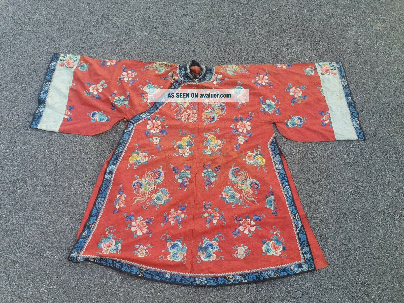 A antique embroidered red silk Chinese robe