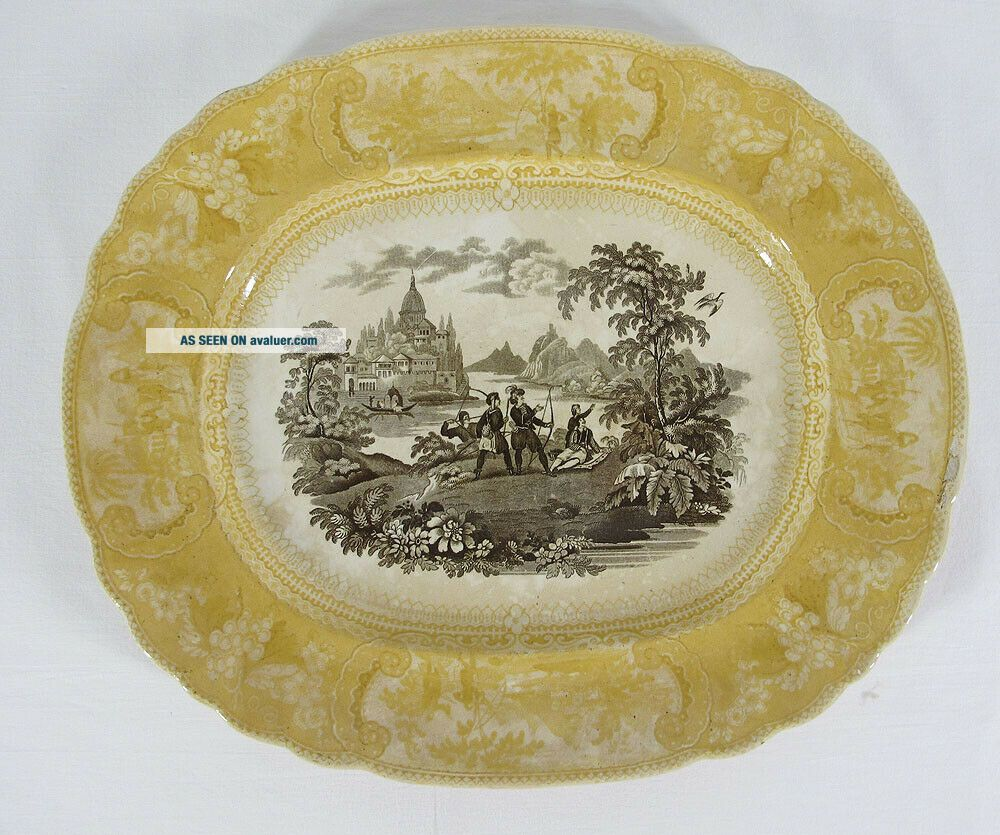 Antique 1830 ' s RARE Staffordshire Enoch Transferware Brown &Yellow Belzoni yqz