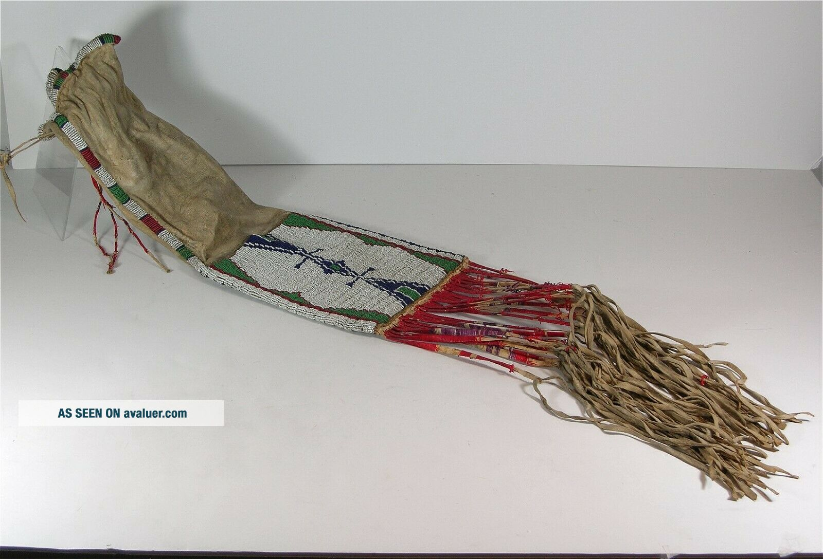 ca1880s NATIVE AMERICAN SIOUX INDIAN BEAD DECORATED HIDE TOBACCO BAG BEADED BAG