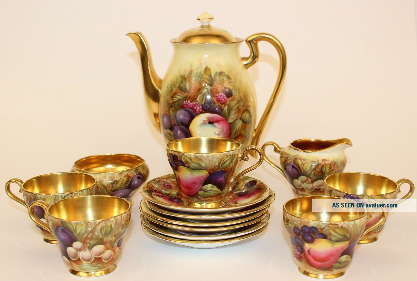 ANSLEY ORCHARD FRUIT COFFEE POT W/CUPS & SAUCERS CREAMER & SUGAR ARTIST SIGNED