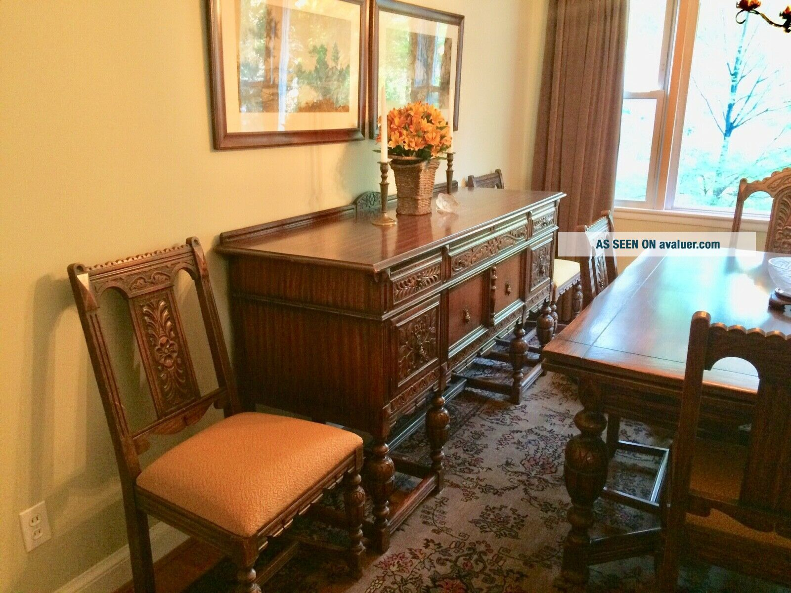 1920's Northern Furniture Company Jacobean style 10 piece dining room set