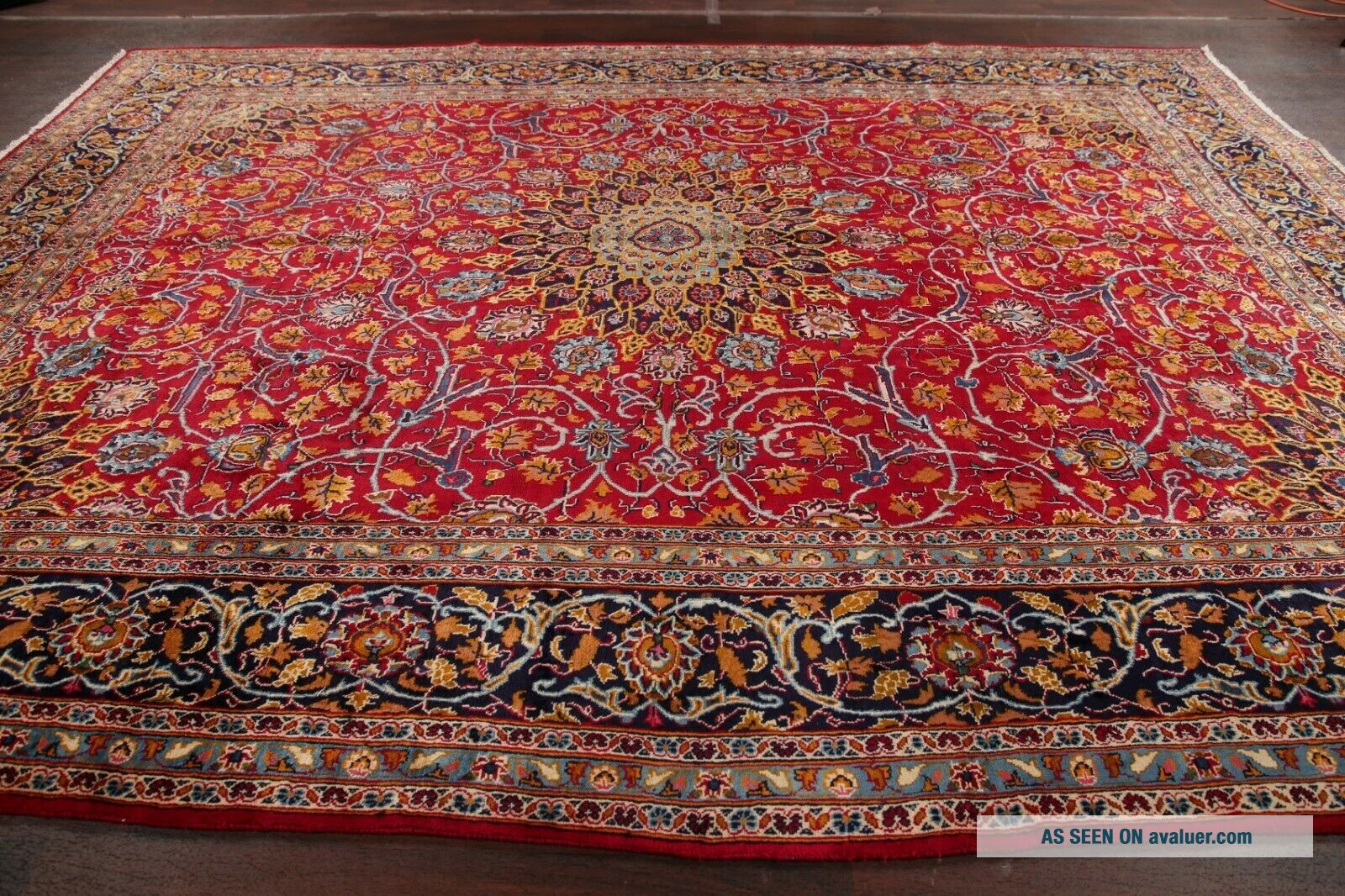 Vintage Kashmar Persian Area Rug VIBRANT RED Oriental Hand - Knotted Floral 10x12