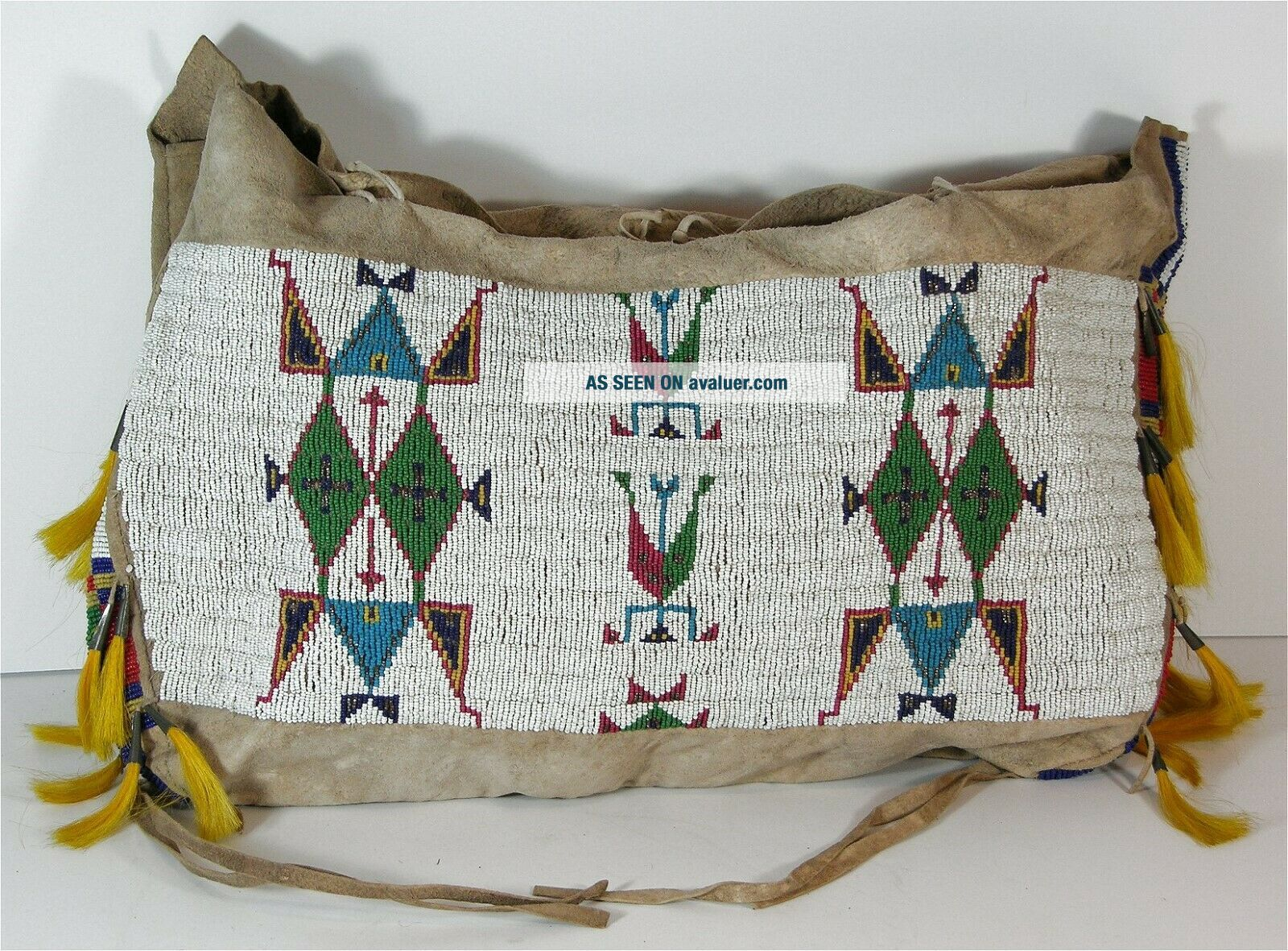 c1890s NATIVE AMERICAN SIOUX INDIAN BEAD DECORATED HIDE TIPEE / TEEPEE BAG LARGE