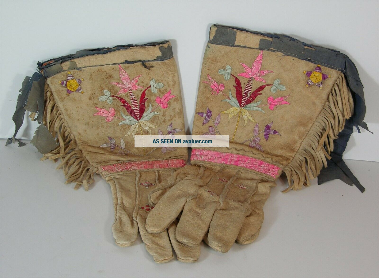 c1880s PAIR NATIVE AMERICAN SIOUX INDIAN QUILL DECORATED HIDE GAUNTLETS / GLOVES