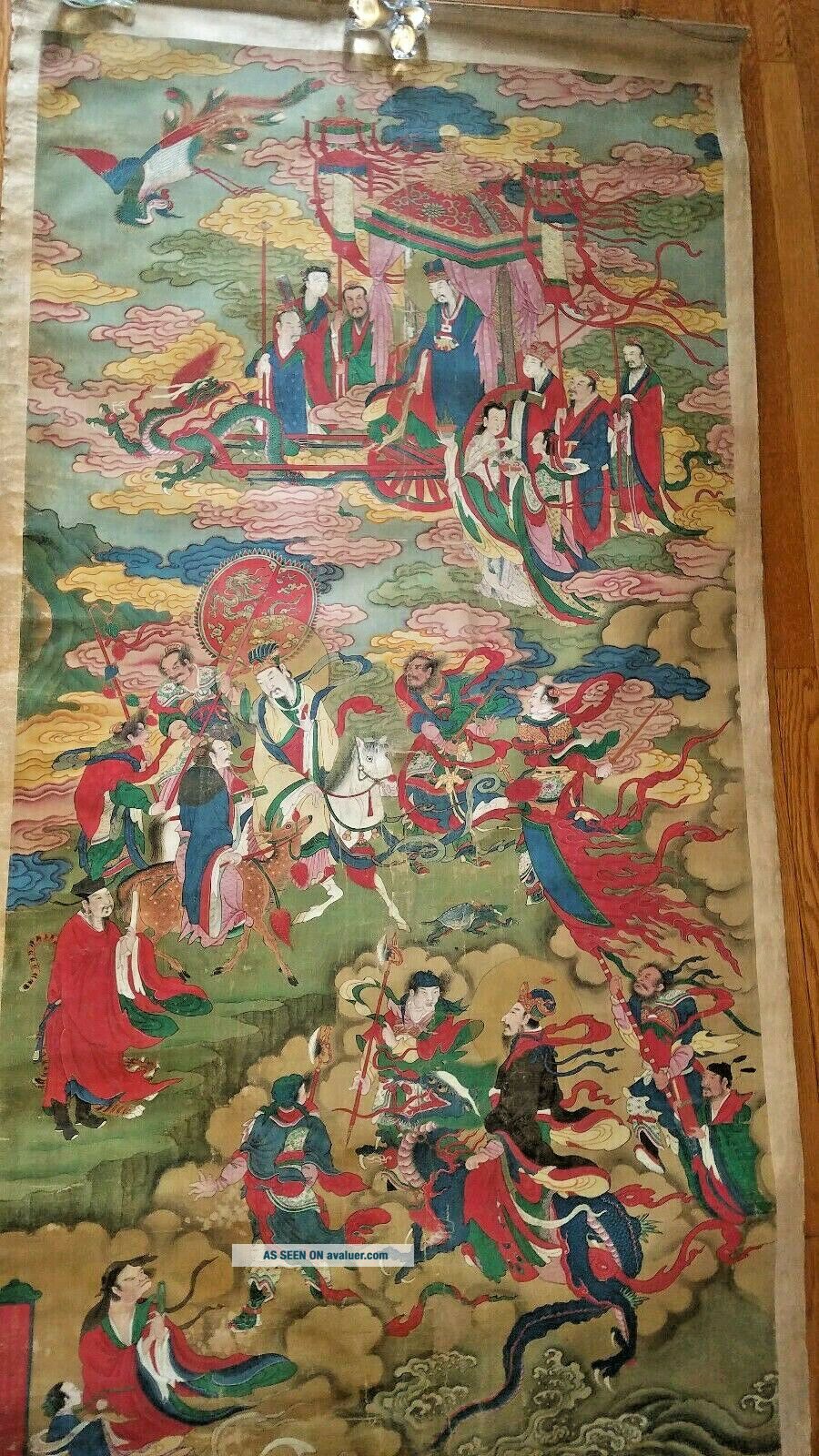 Antique 19 Century Large Chinese scroll Painting