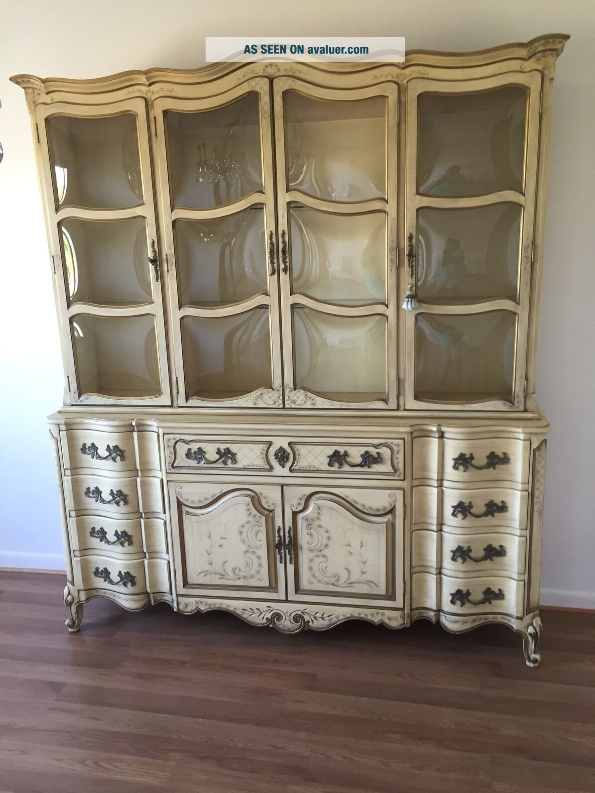 KARGES BREAKFRONT / CHINA CABINET FRENCH PROVINCIAL Hand Painted