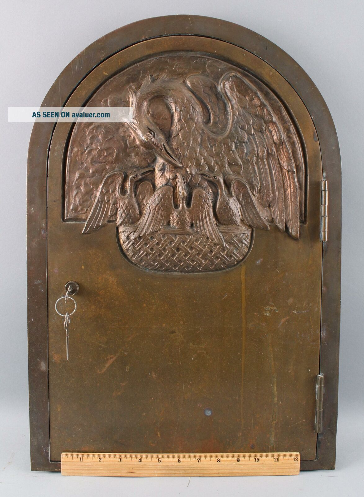 Antique Heavy Bronze Religious Reliquary Tabernacle Door Pelican Nest,  NR