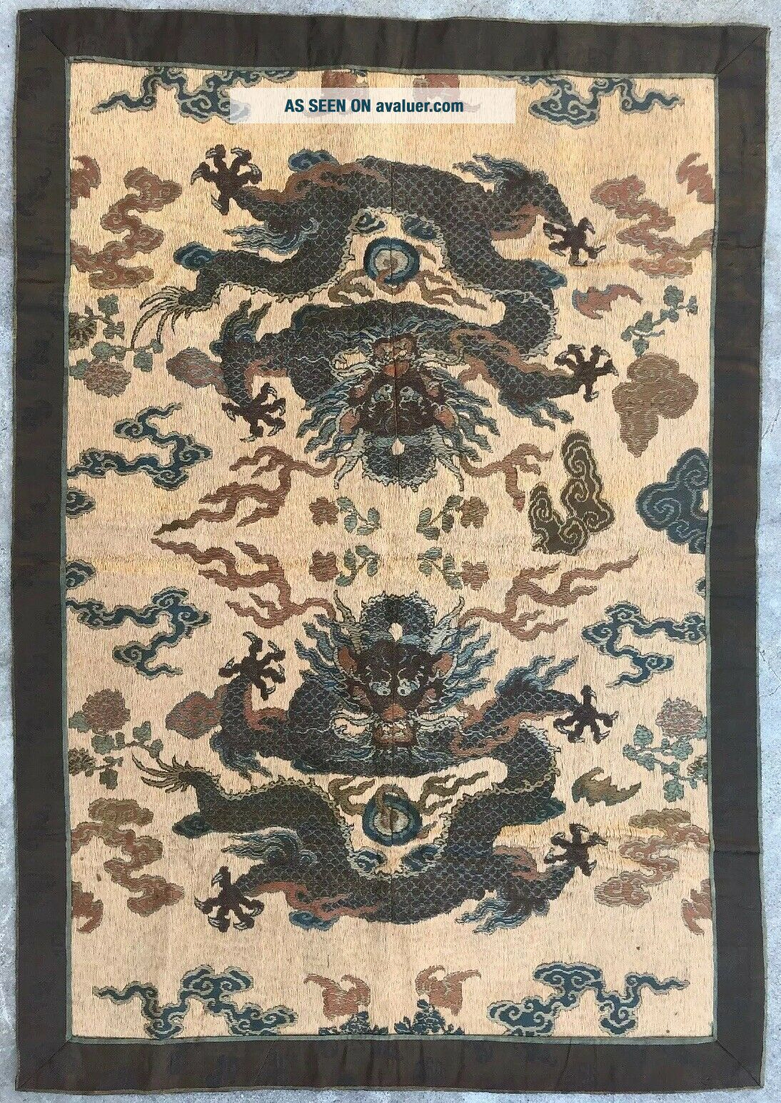 Antique Chinese Imperial Yellow Satin Dragon Panel Embroidered Kesi Gold Qing