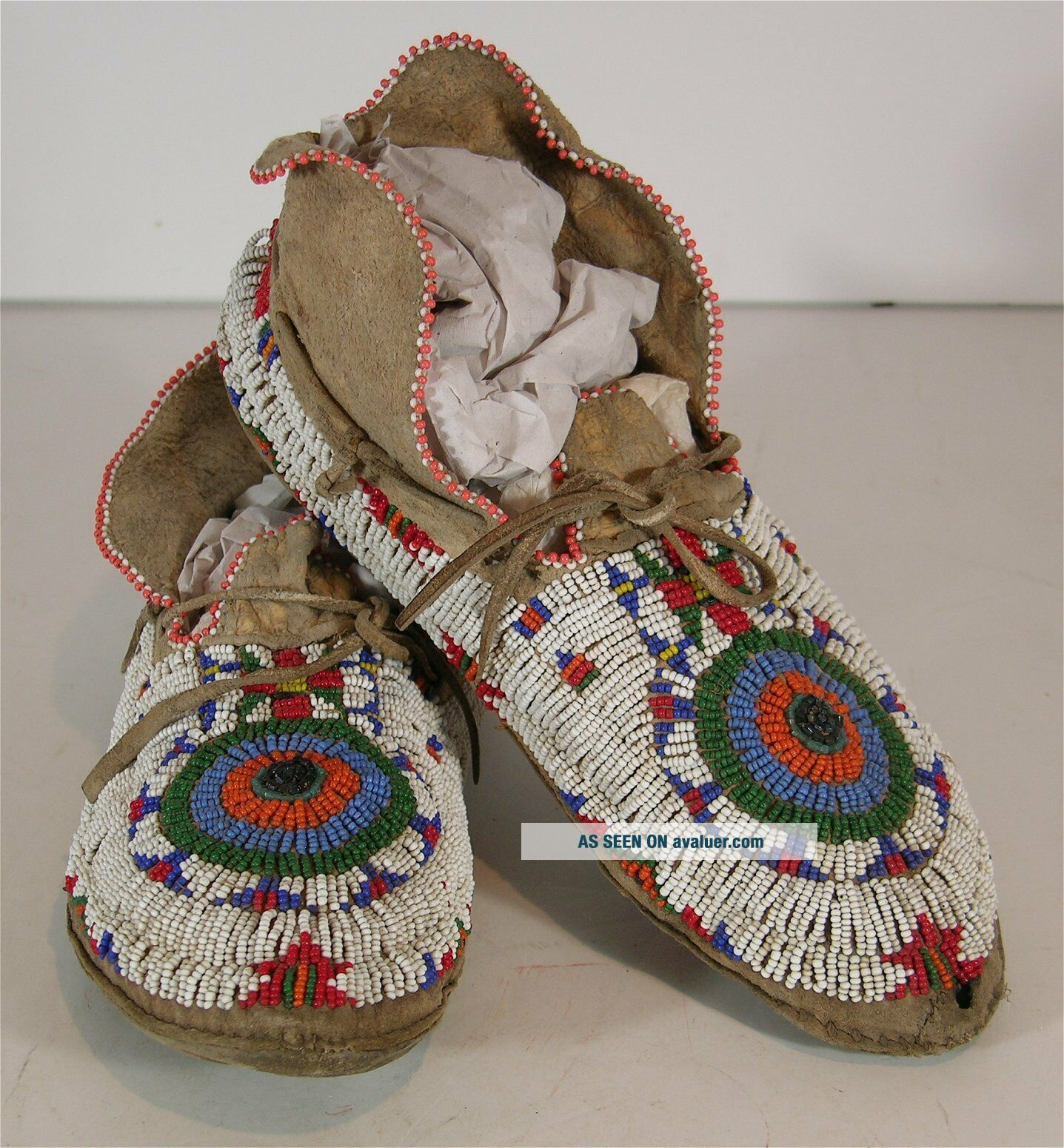 1890s PAIR NATIVE AMERICAN SIOUX INDIAN BEAD DECORATED HIDE MOCCASINS BEADED