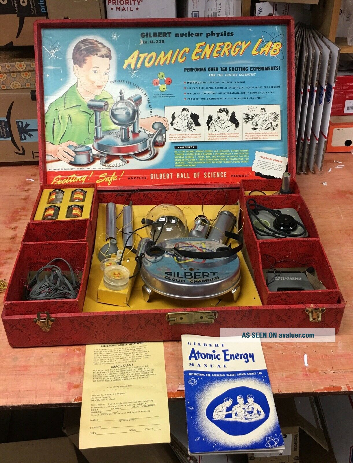Rare Gilbert U - 238 Atomic Energy Lab toy with parts and case