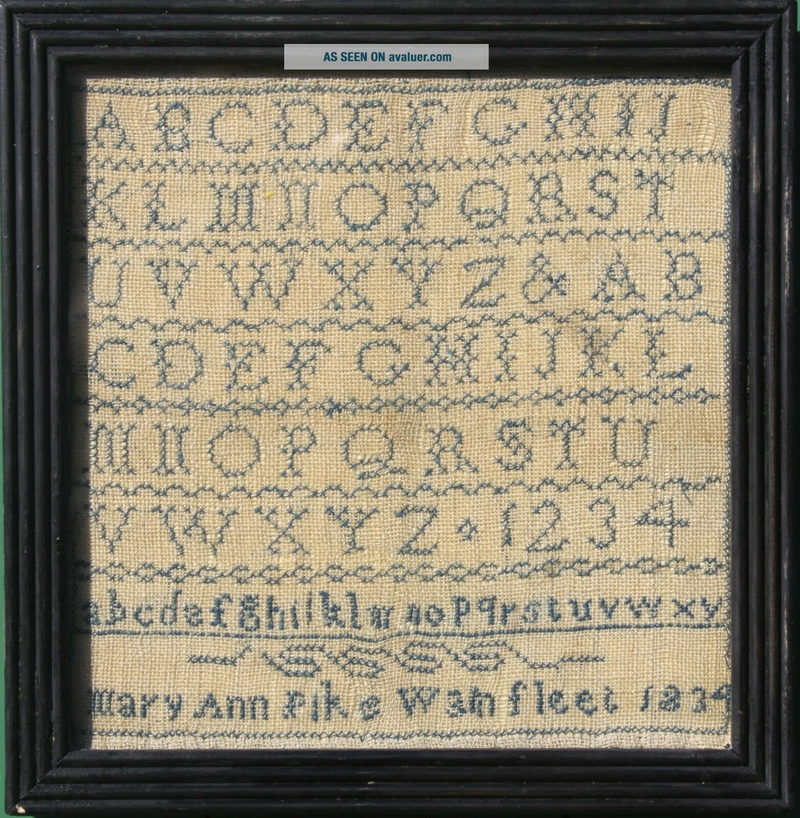 ANTIQUE NEEDLEWORK SAMPLER by MARY ANN PIKE WAINFLEET LINCOLNSHIRE 1834