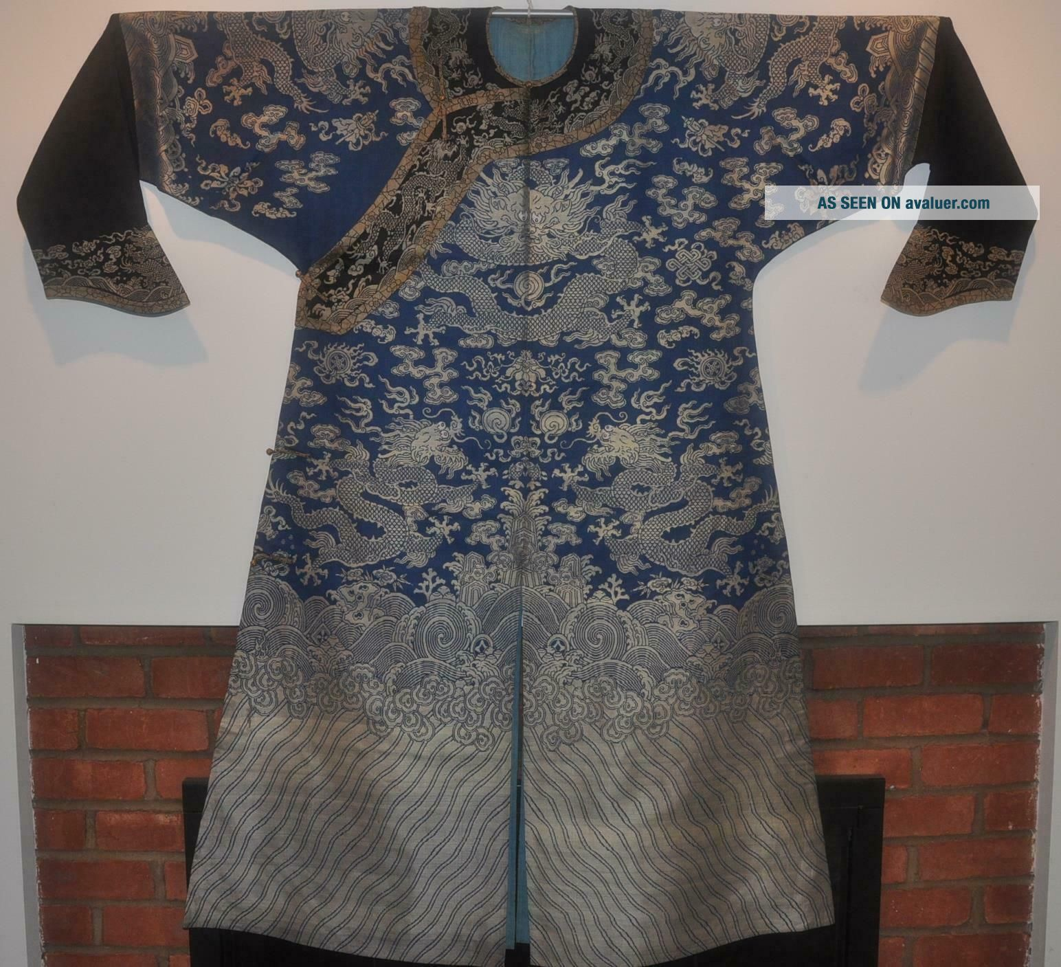 Antique Chinese Qing Dynasty Silk Brocade Dragon Robe