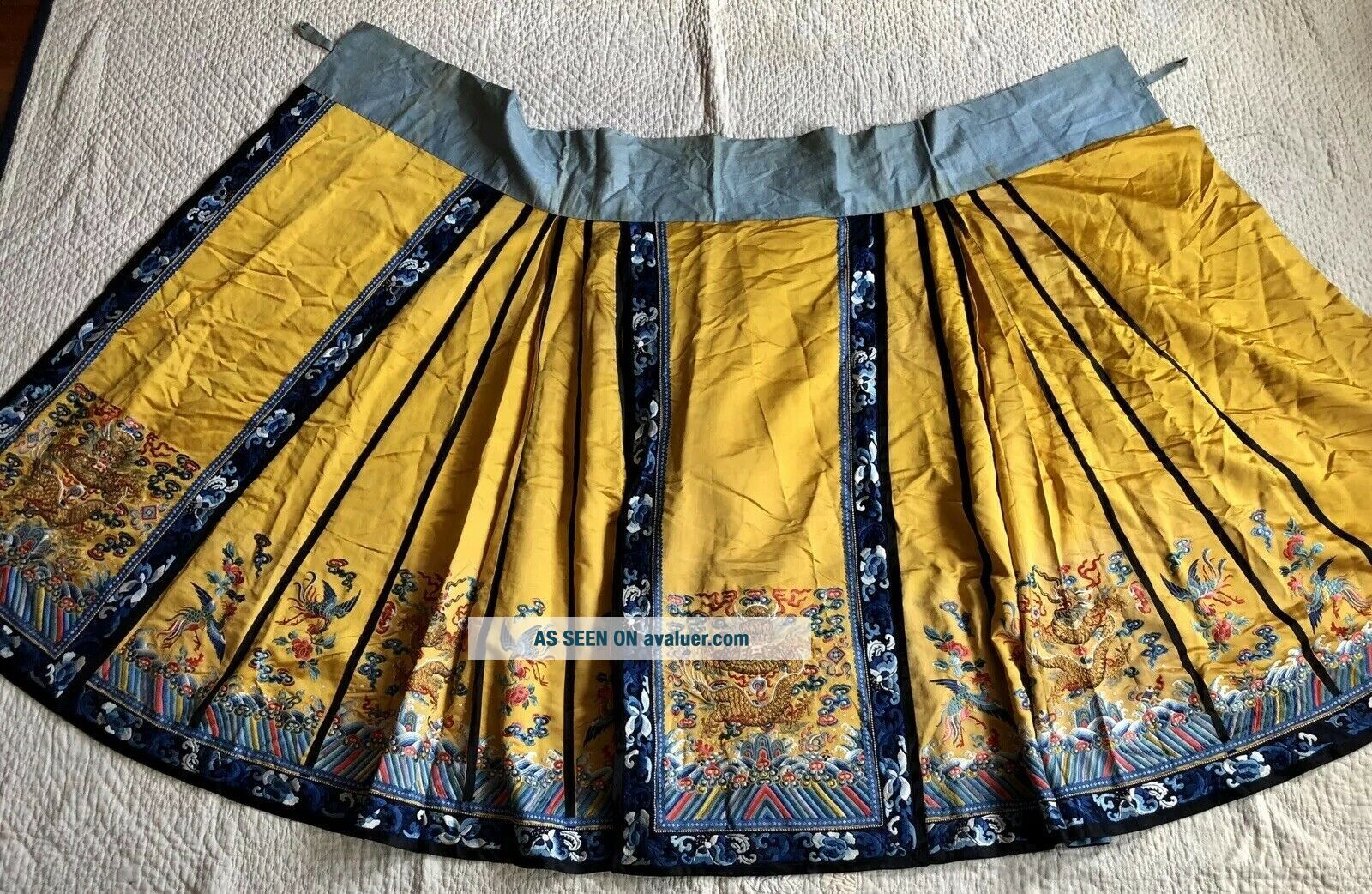 Antique Chinese Imperial Yellow Satin Dragon Skirt Finely Embroidered Gold Qing