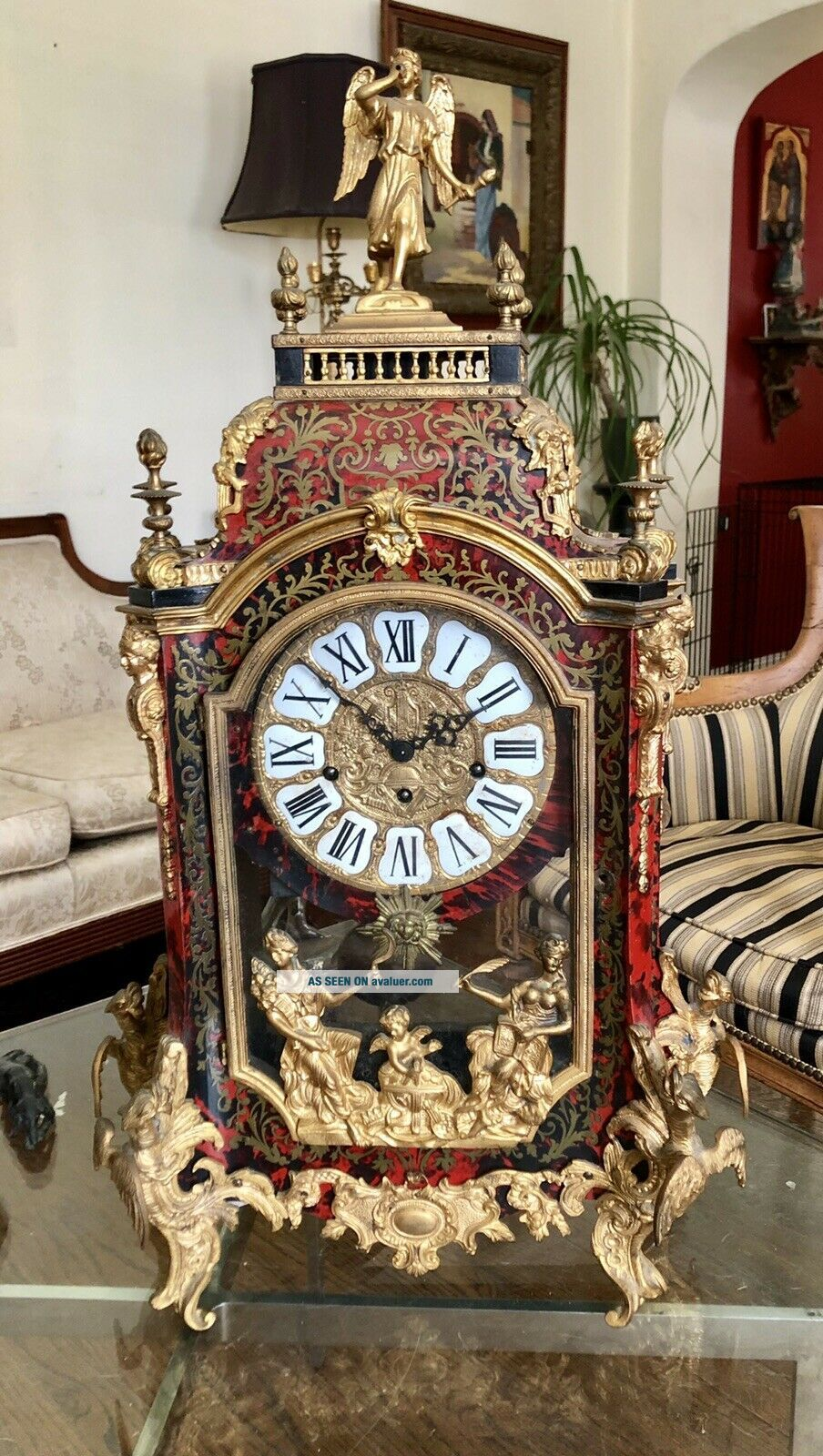 Mid Century French Bronze Louis XV Style Boulle Inlay Large Mantle Clock