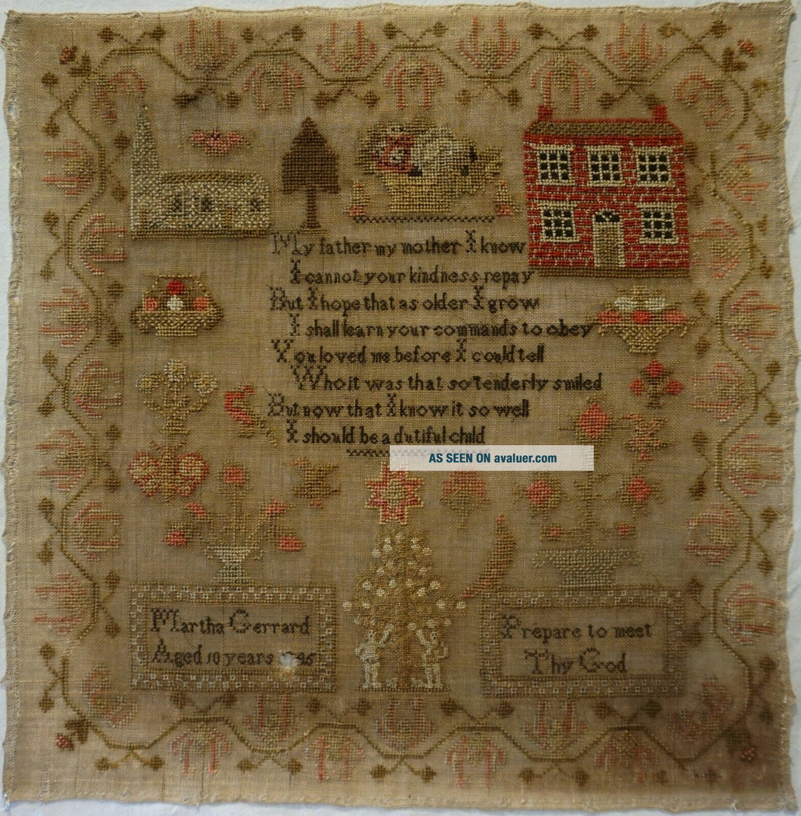 MID 19TH CENTURY RED HOUSE,  CHURCH & VERSE SAMPLER BY MARTHA GERRARD AGE 10 1845
