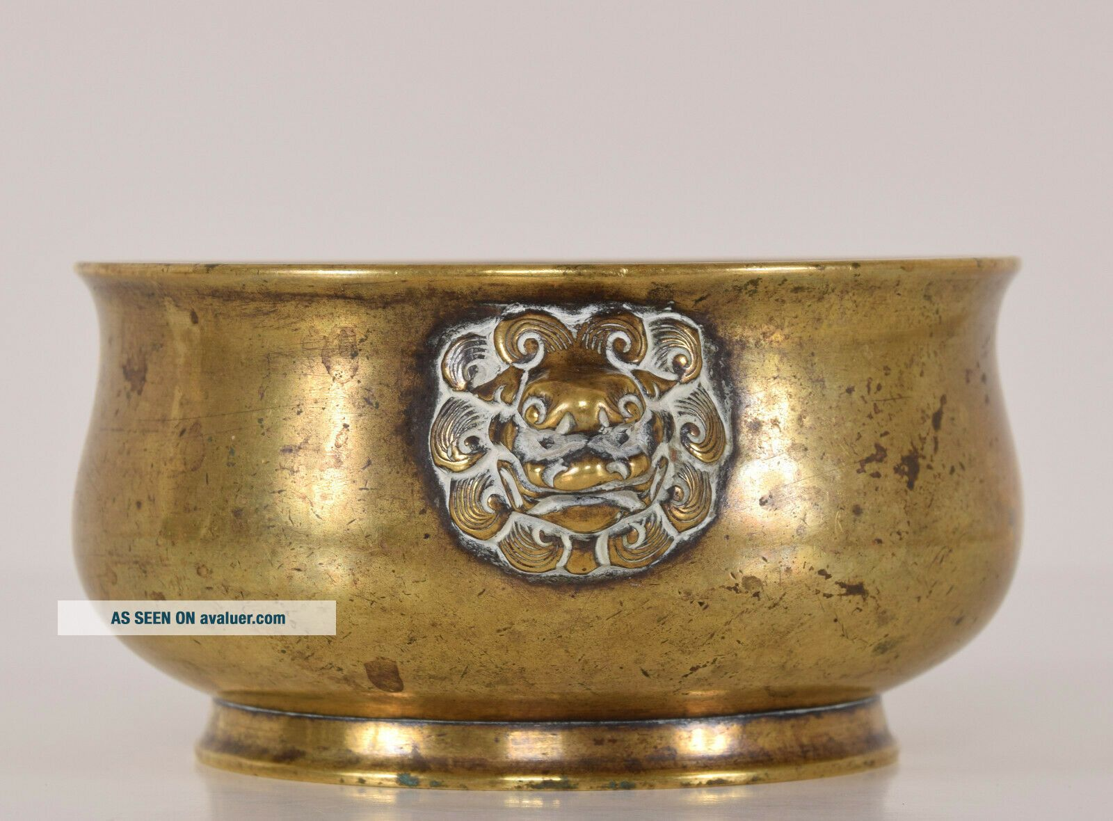 Late Ming - Early Qing Chinese Bronze Lion Mask Censer Incense Burner Xuande Mk
