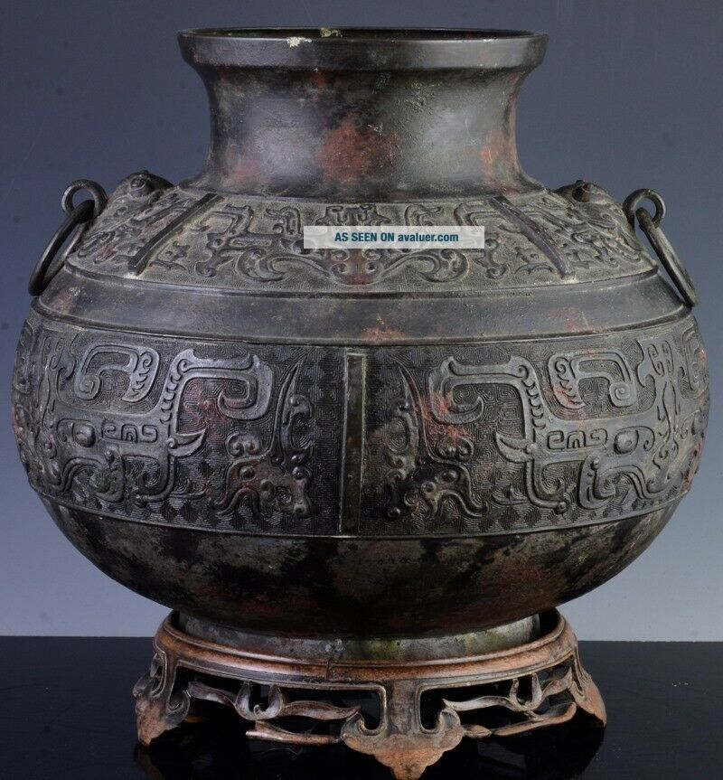 LARGE EARLY CHINESE ARCHAIC BRONZE MASK HANDLE HU VASE MING DYNASTY MARKED