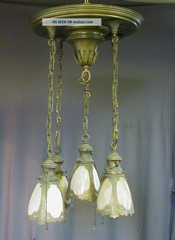 FANCY ARTS & CRAFTS / GOTHIC BRASS PAN FIXTURE w/ 5 STAINED / SLAG GLASS SHADES