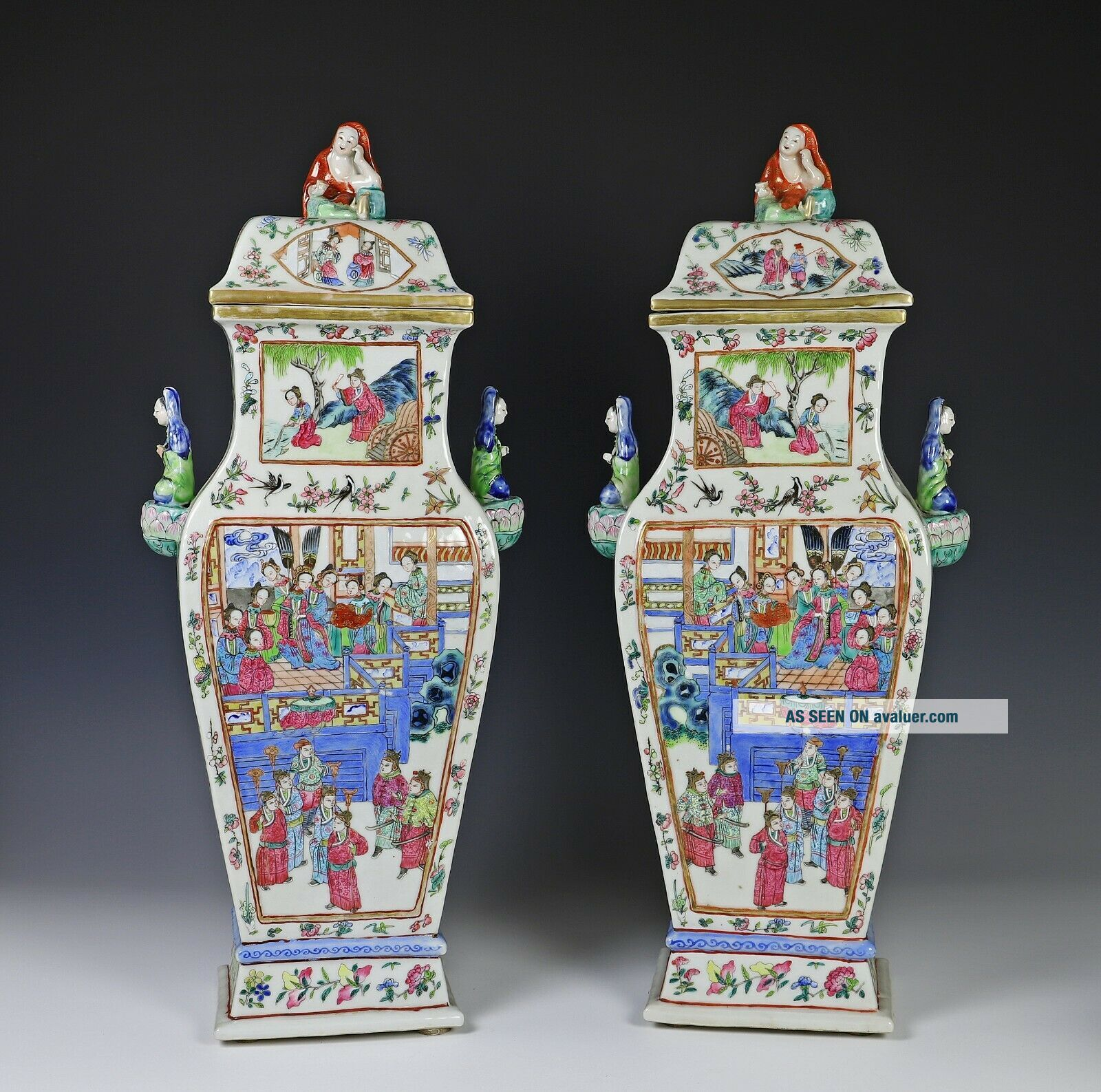 Impressive Antique Chinese Porcelain Covered Vases with Figural Handles