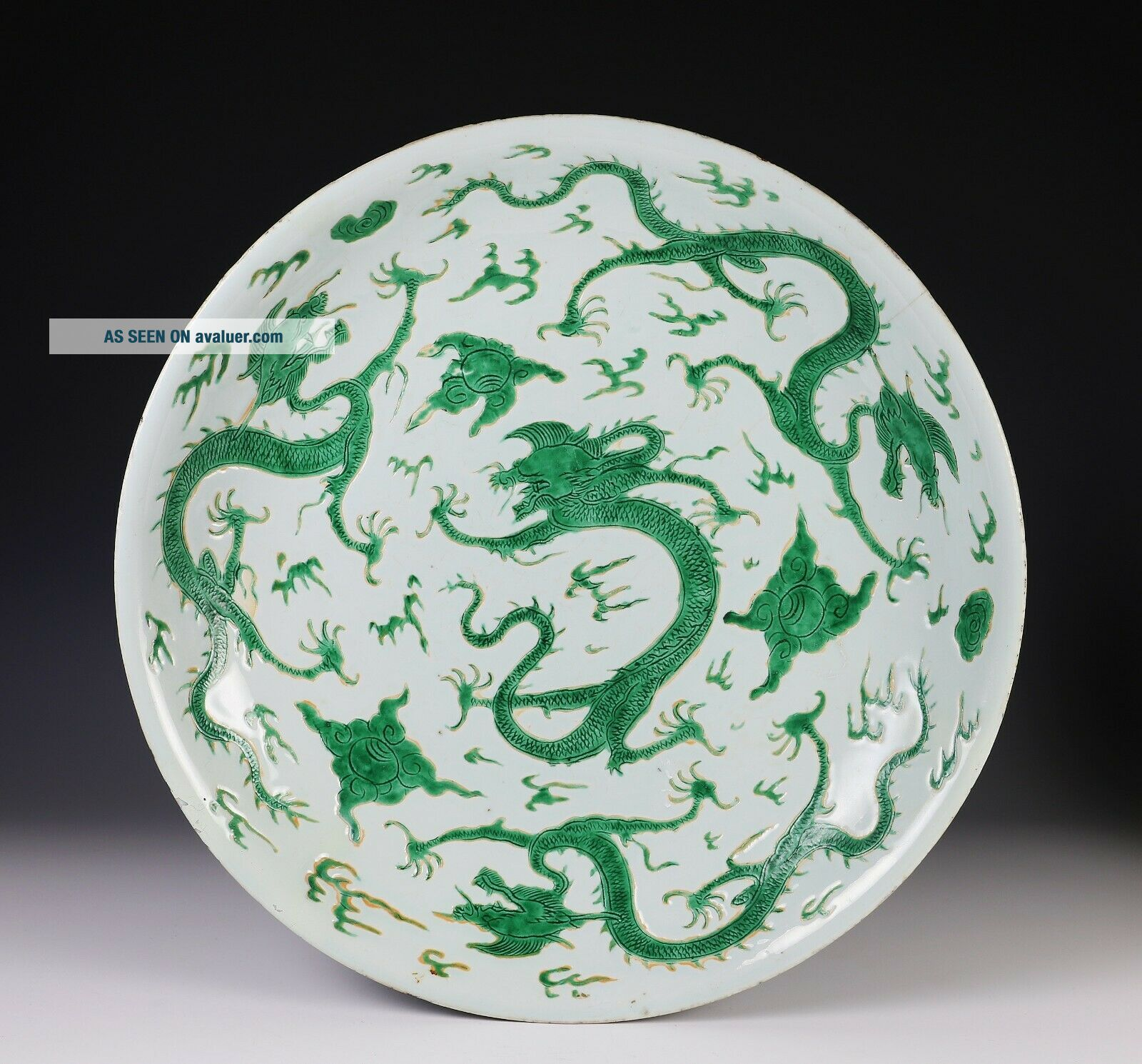 Exceptionally Rare Large Antique Chinese Dragon Deep Dish - Kangxi Mark,  Period