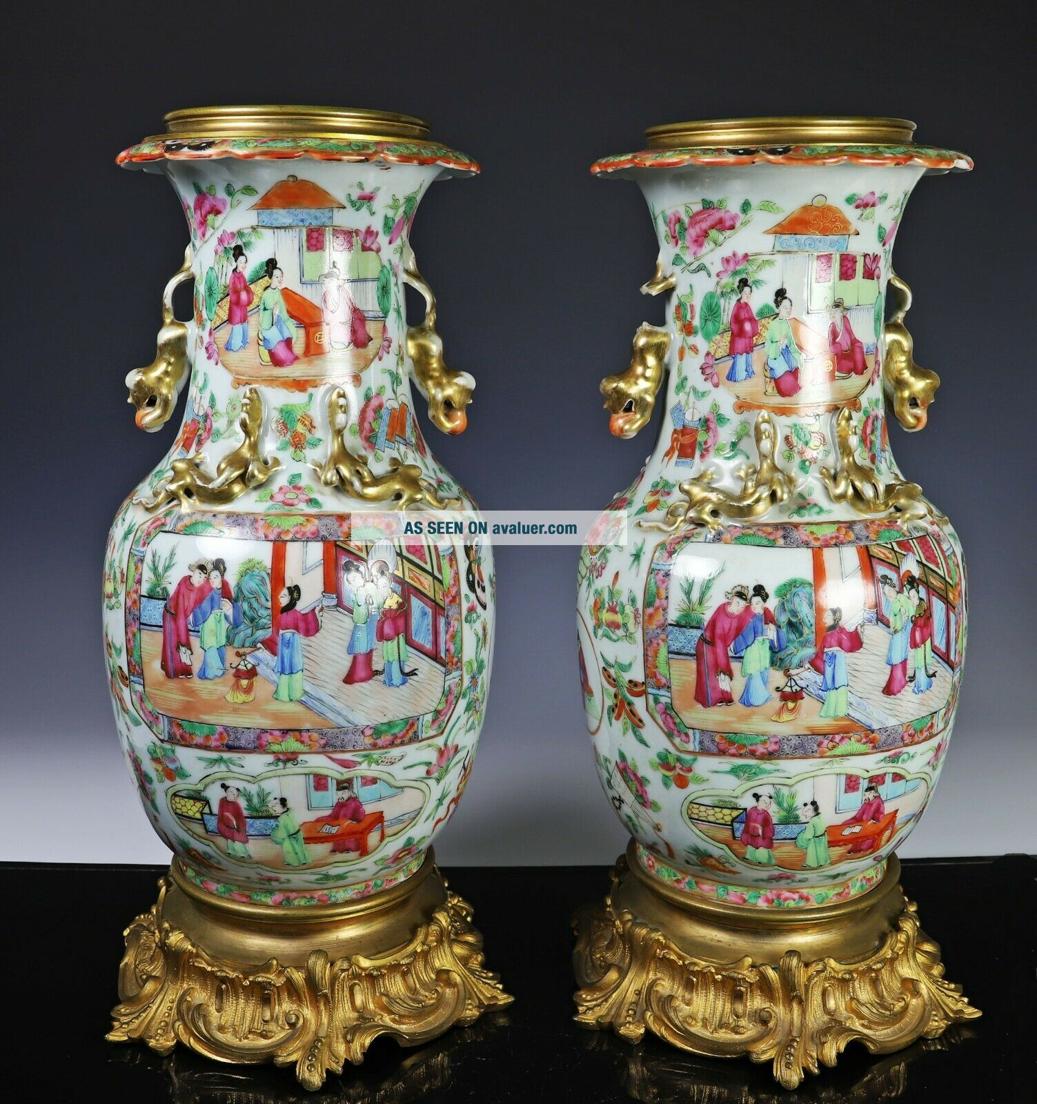 Large Antique Chinese Rose Mandarin Vases with Ormolu Bronze Mounts
