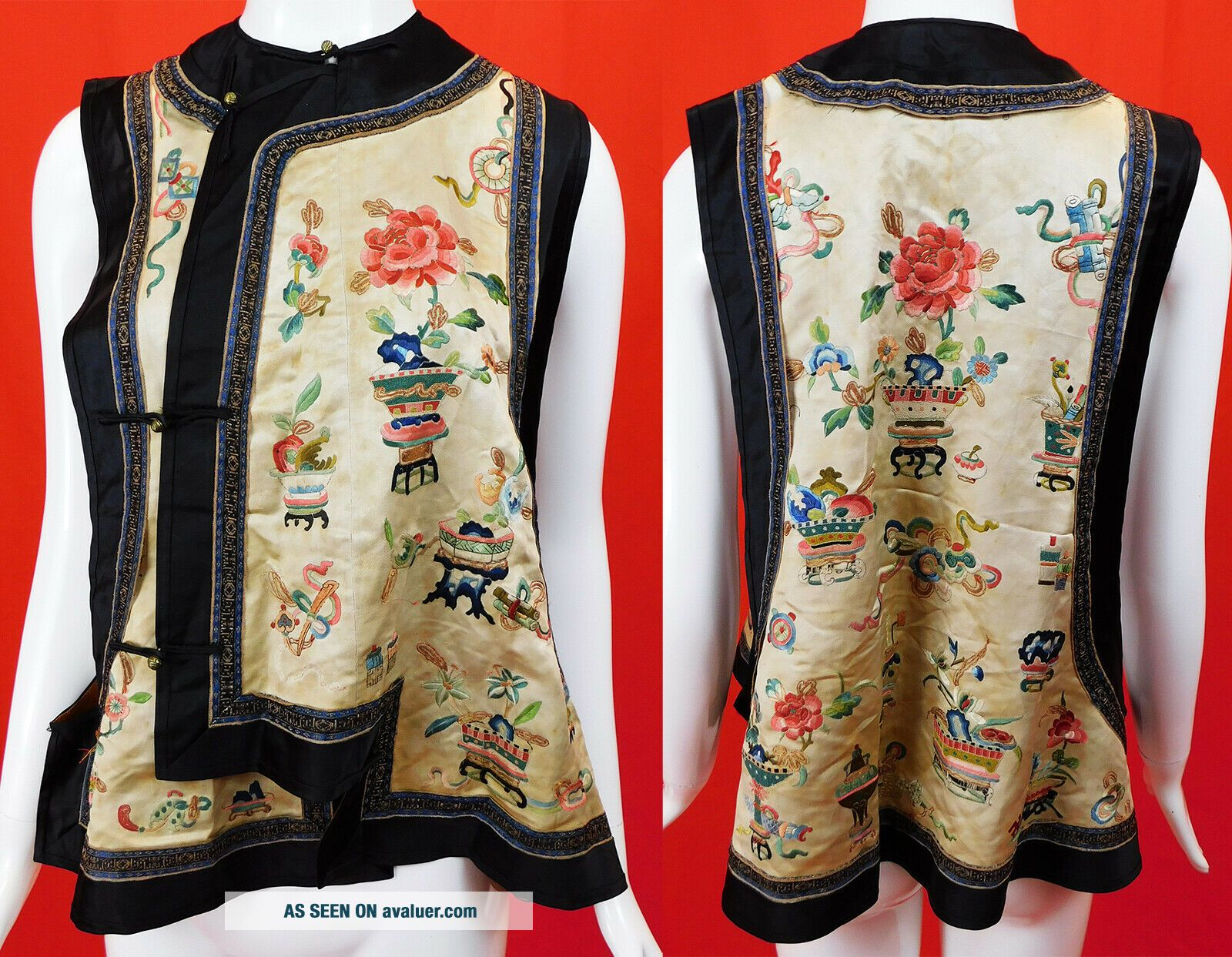 Antique Chinese Silk Embroidered Forbidden Stitch Semi Formal Vest Robe Jacket
