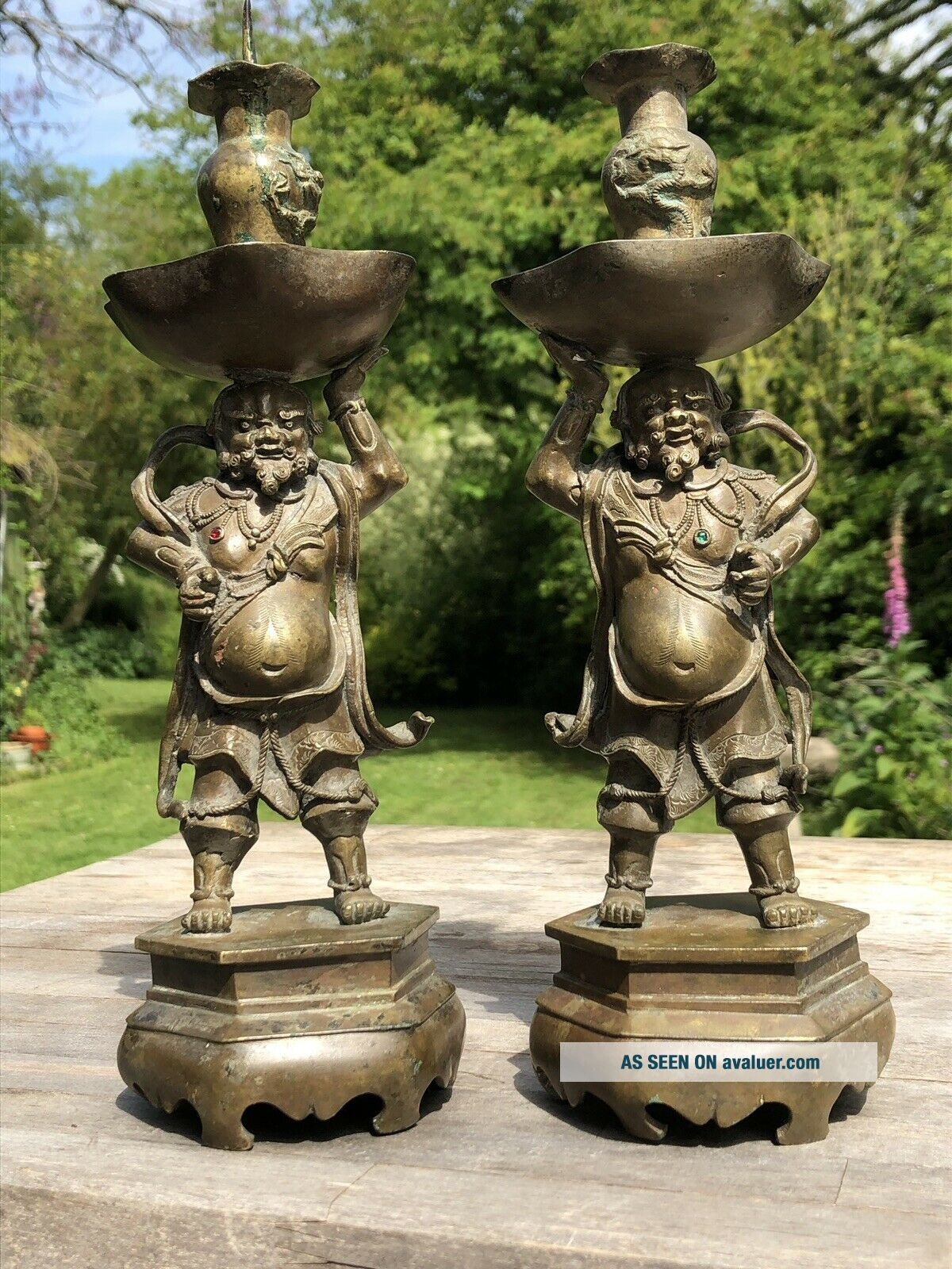 FINE CHINESE QING DYNASTY 18TH CENTURY BRONZE CANDLESTICK IMMORTALS