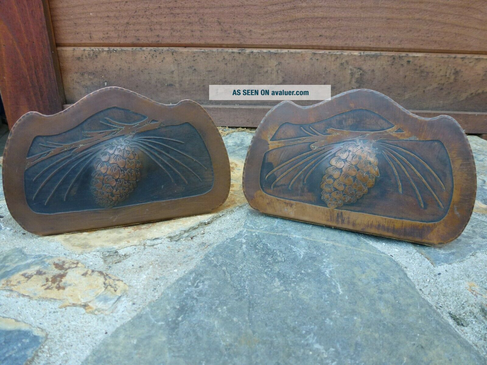 Vtg Albert Berrys Craft Shop Copper Bookends Seattle 1920s Pine Cones Hand Made