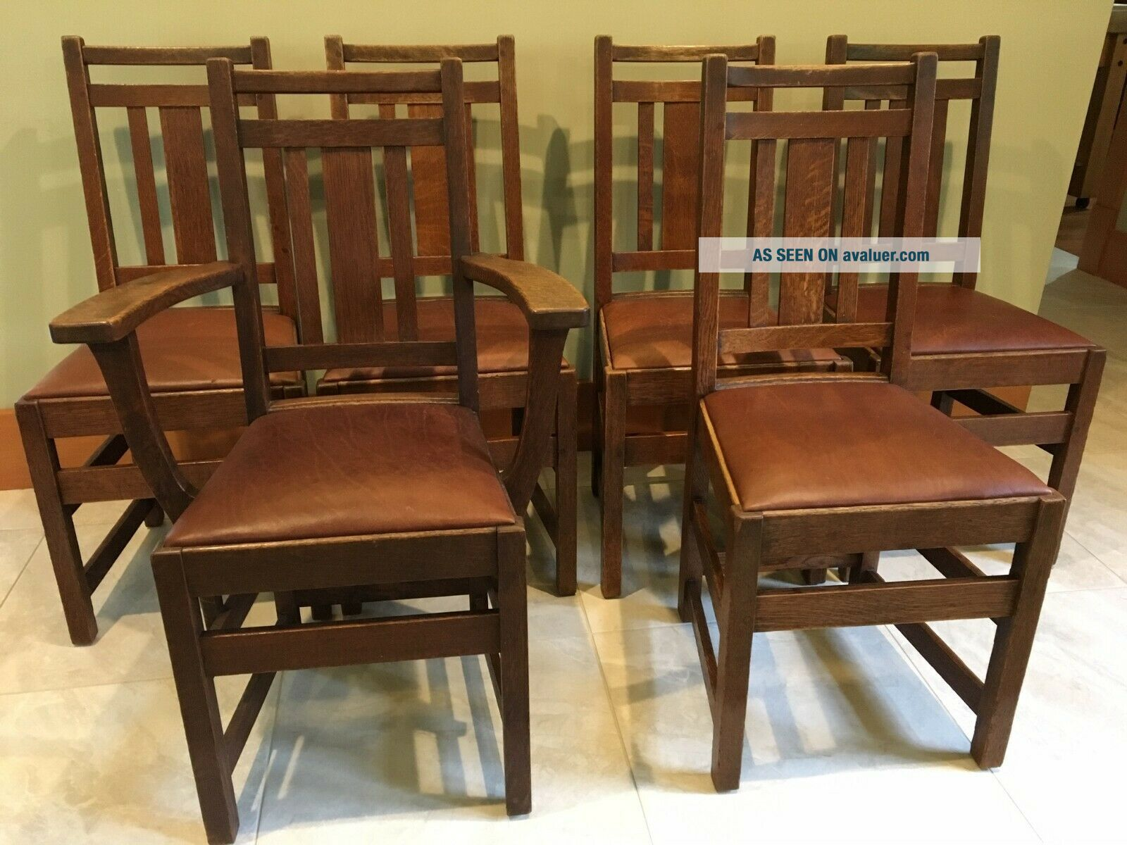 LIMBERT ARTS AND CRAFTS,  MISSION,  DINING CHAIRS - VERY GOOD,